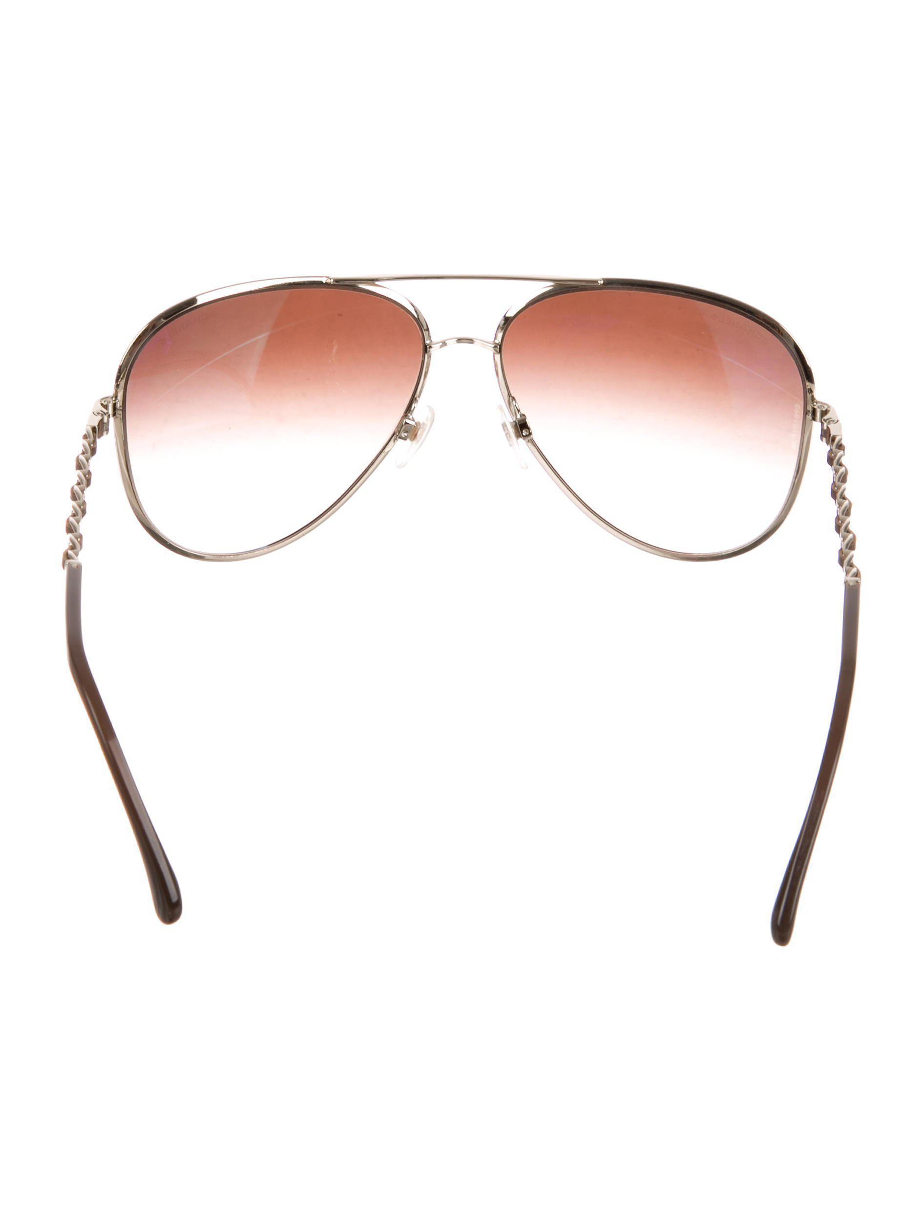 25b015ee3b35 Lyst - Chanel Chain-link Aviator Sunglasses Gold in Metallic