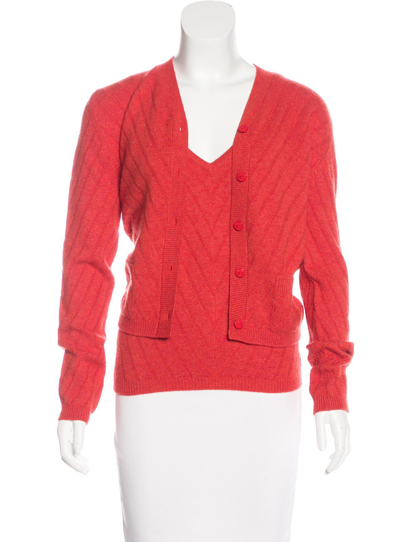 Chanel Cashmere Cardigan Set Orange in Red | Lyst