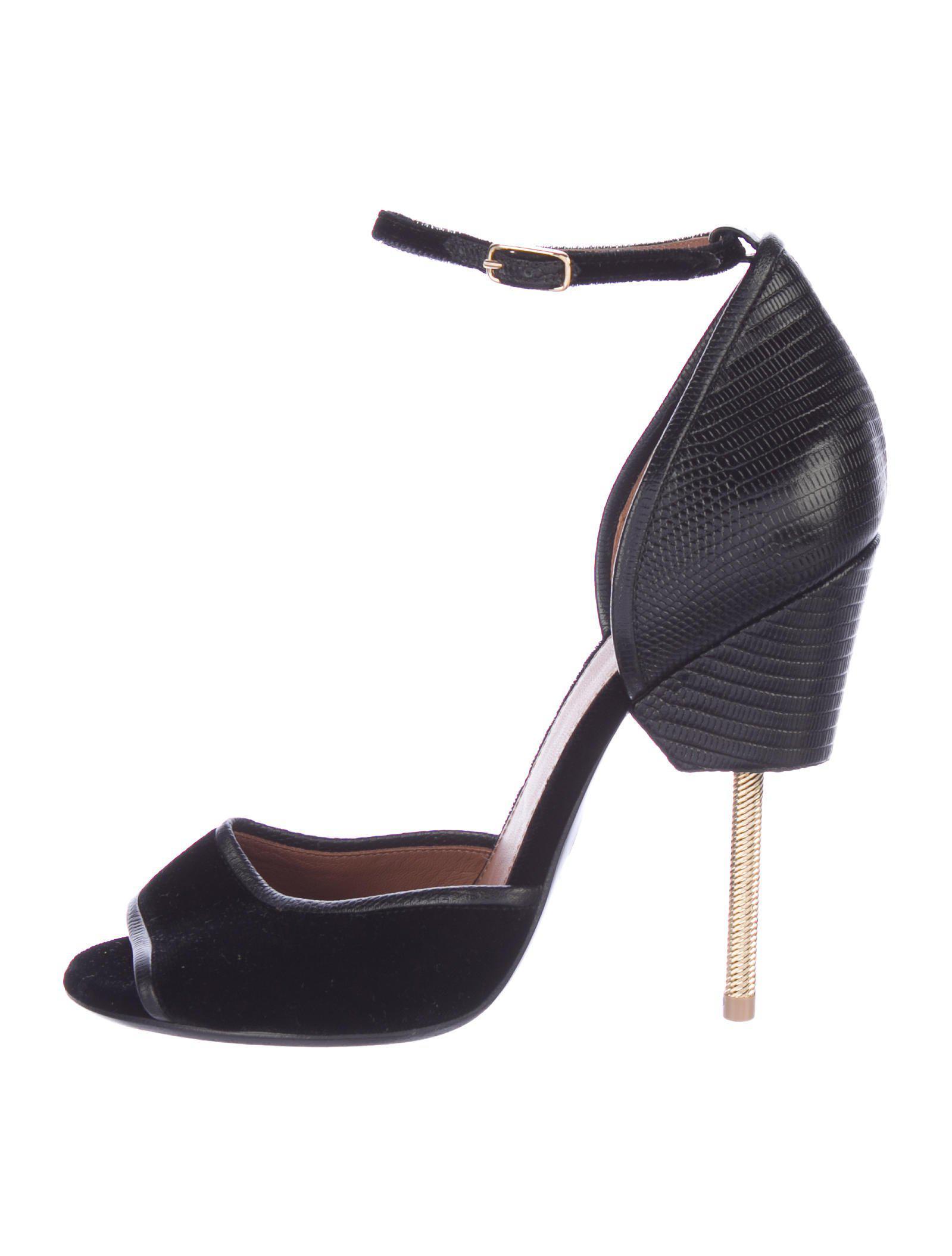 8b26f04376e Lyst - Givenchy Matilda Lizard-trimmed Sandals Black in Metallic