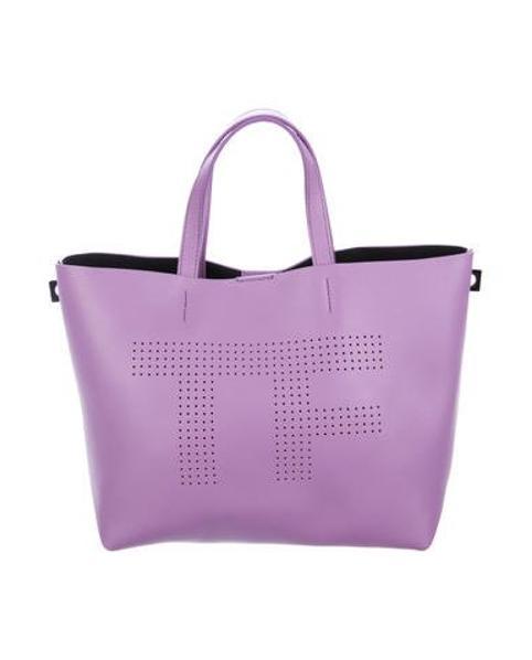 07eab8b110 Lyst - Tom Ford Perforated Logo Shopper Tote in Purple