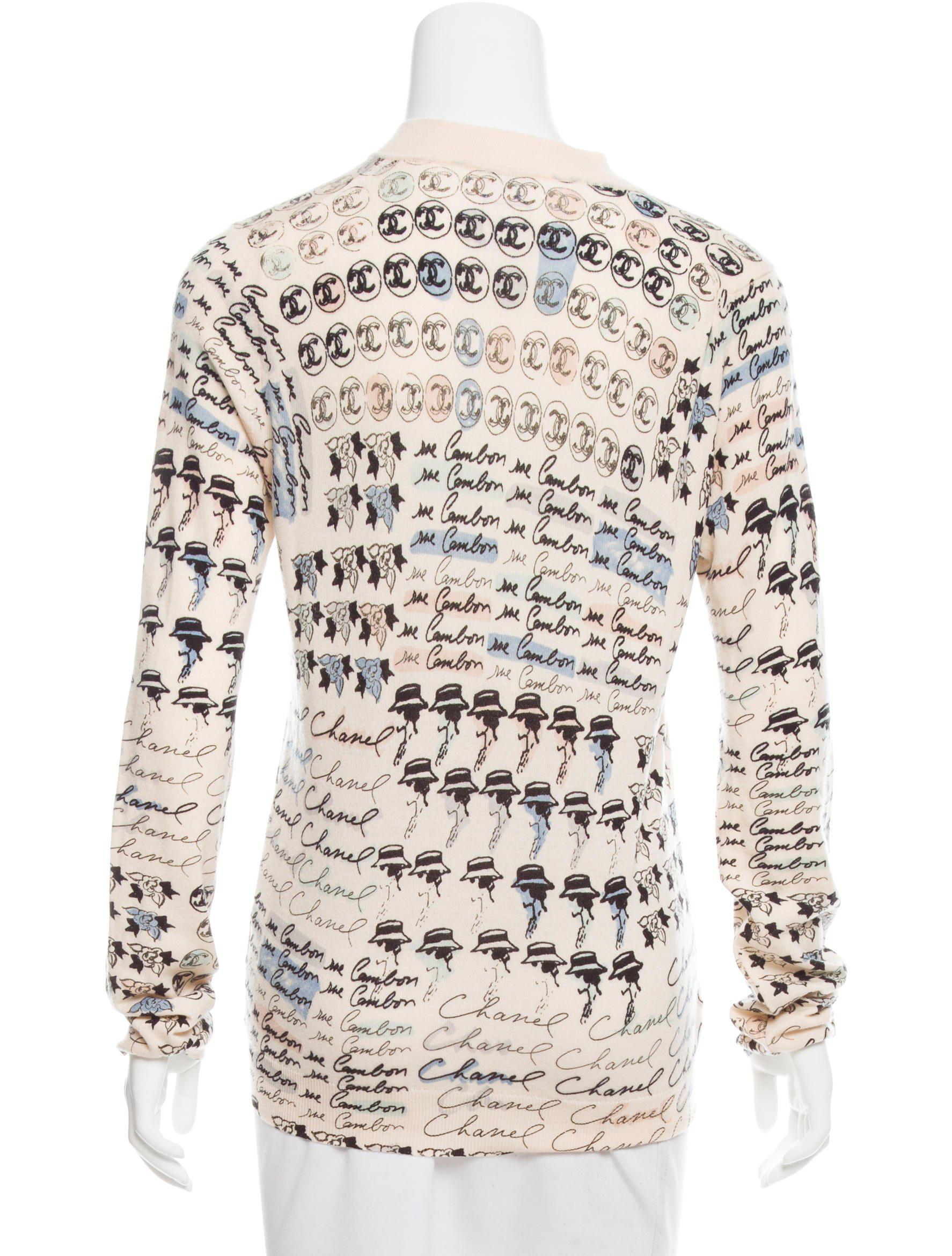 Chanel Cashmere Printed Sweater Multicolor | Lyst