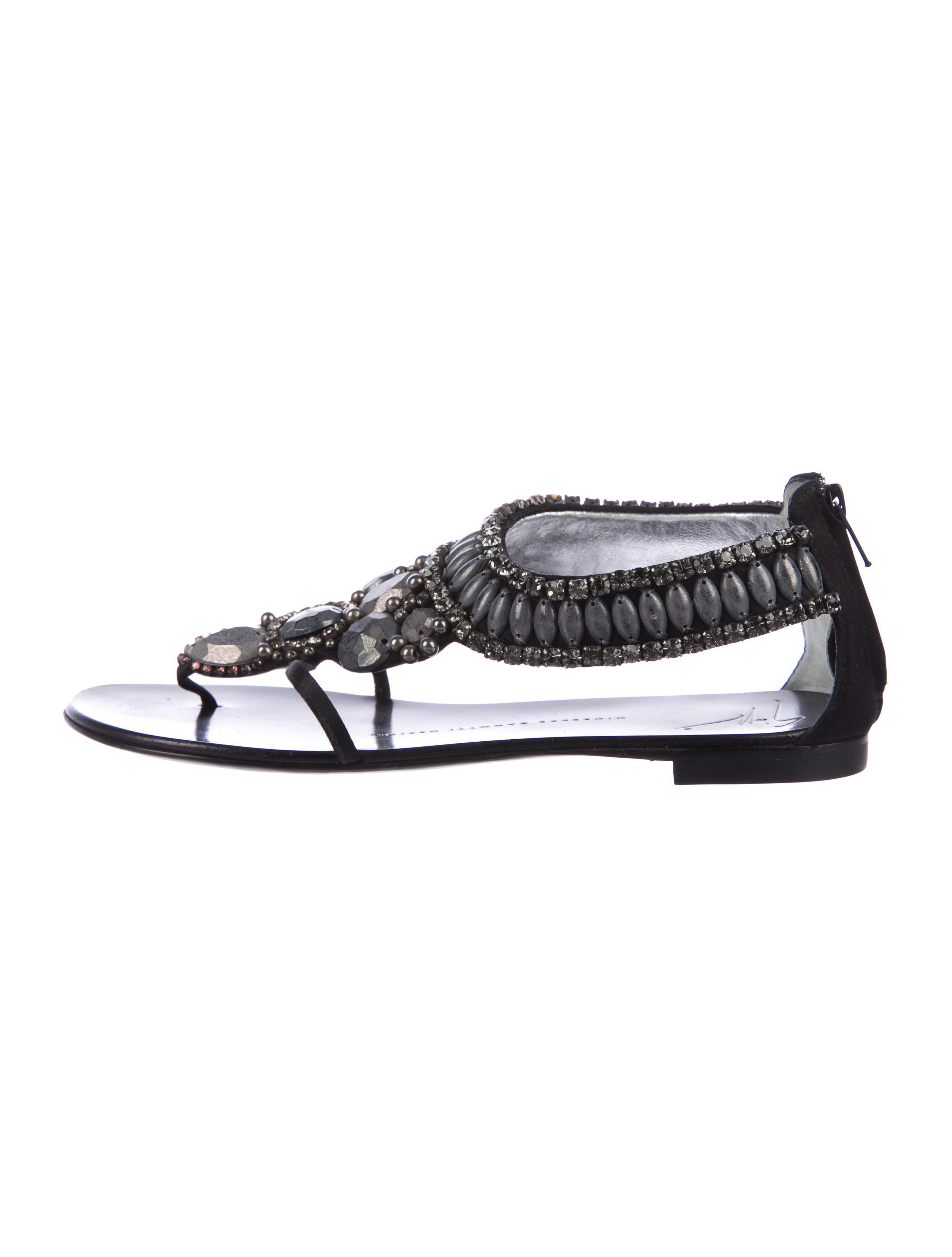 f28492bb0bb96 Lyst - Giuseppe Zanotti Embellished Thong Sandals in Black