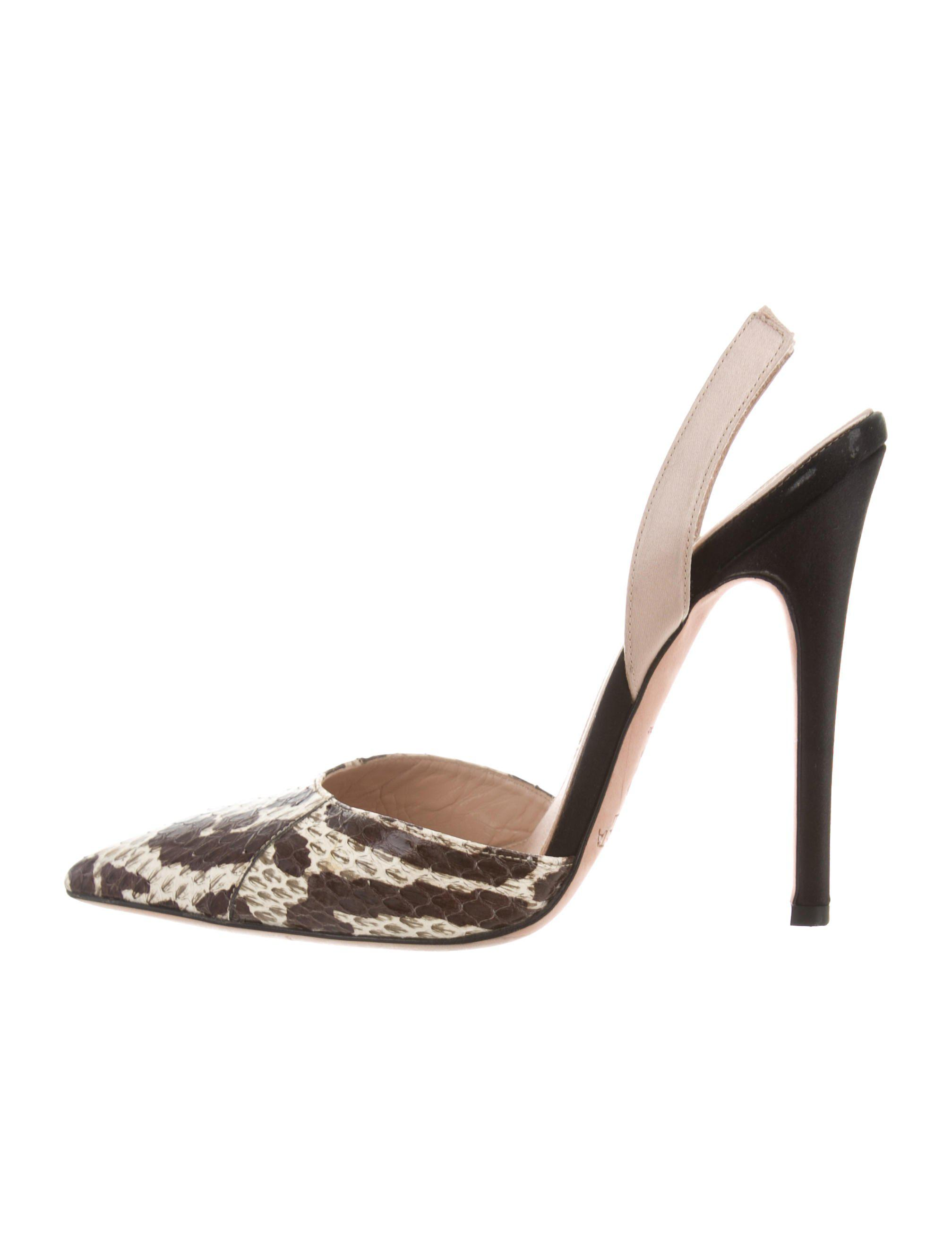 41b3cc441ed Lyst - Giambattista Valli Python Slingback Pumps in Brown