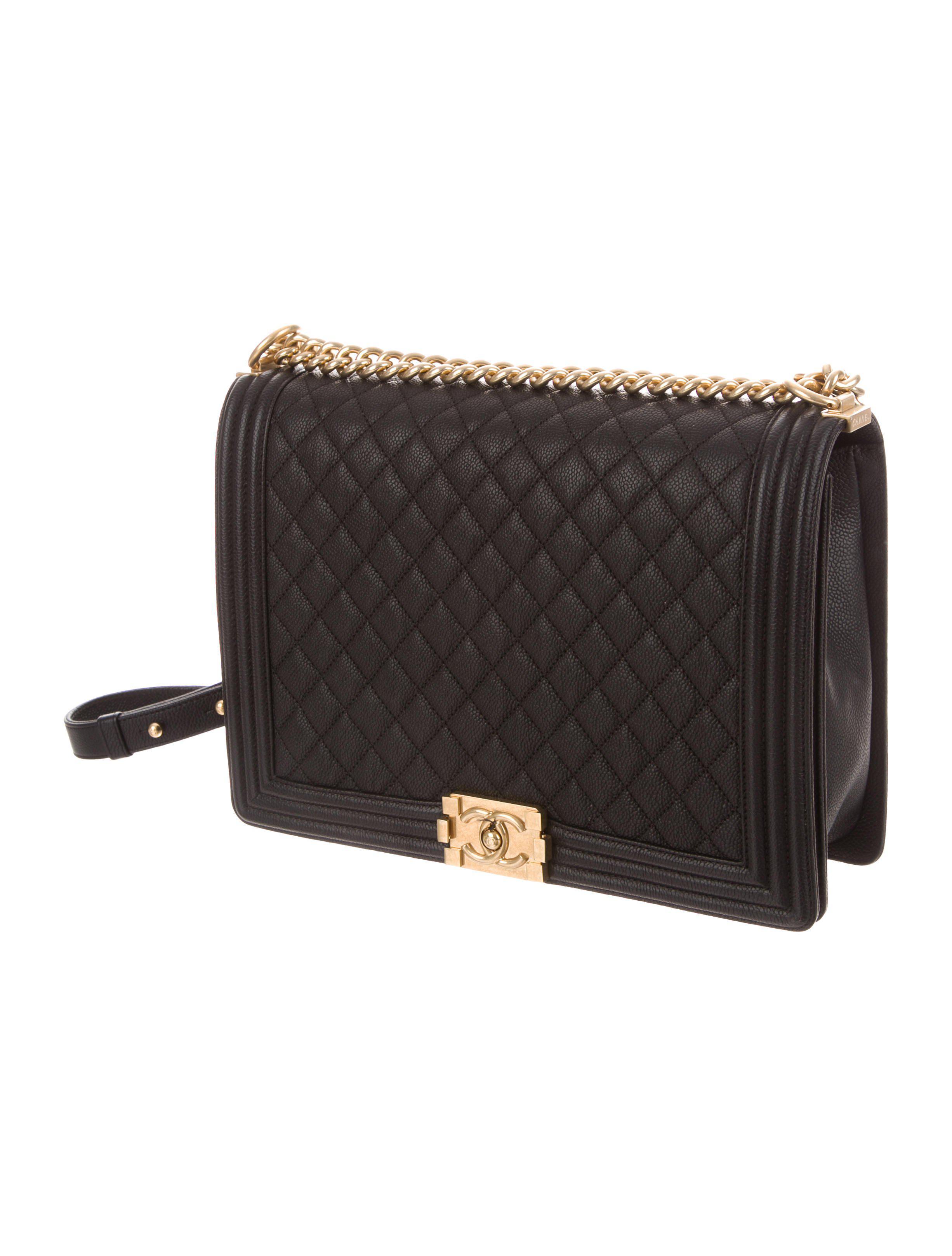 a148708f9cf8 Lyst - Chanel Large Caviar Boy Bag Black in Metallic