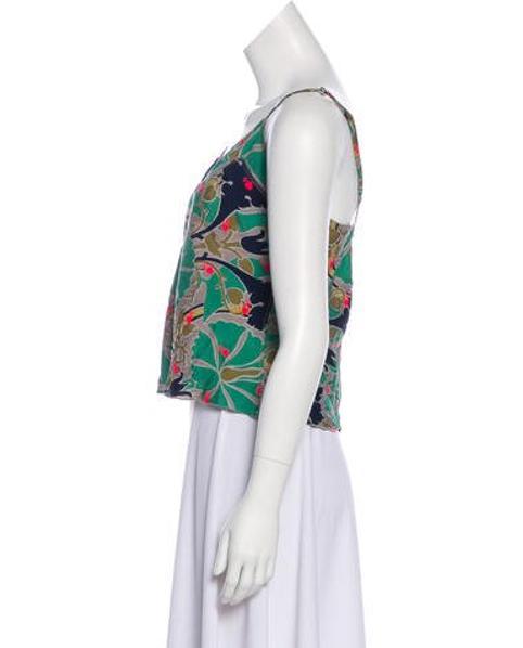 5dfa4f2c965c3 Lyst - Stella Mccartney Silk-blend Sleeveless Top in Green