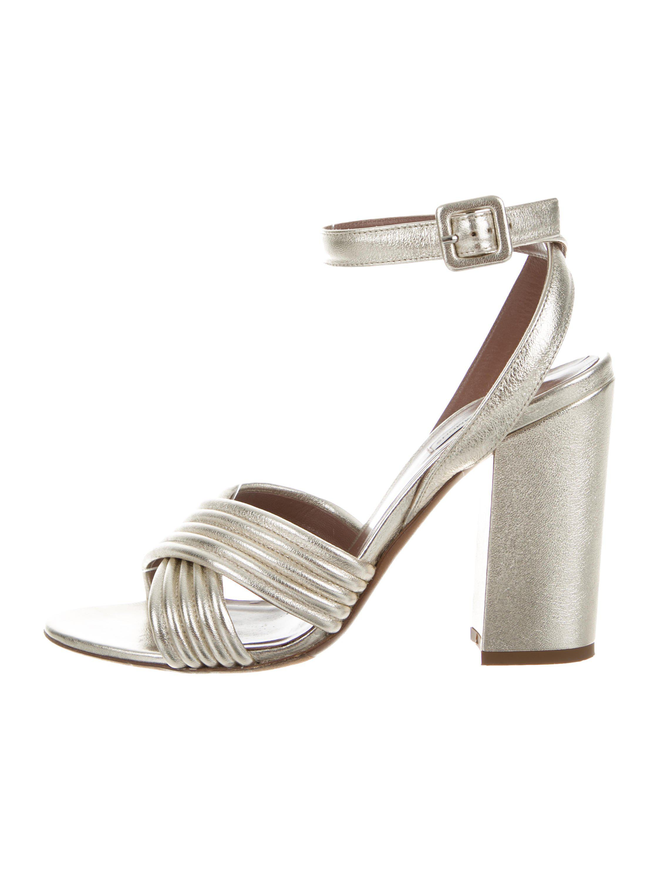 0d56b3e0faf072 Lyst - Tabitha Simmons Ankle Strap Sandals Silver in Metallic
