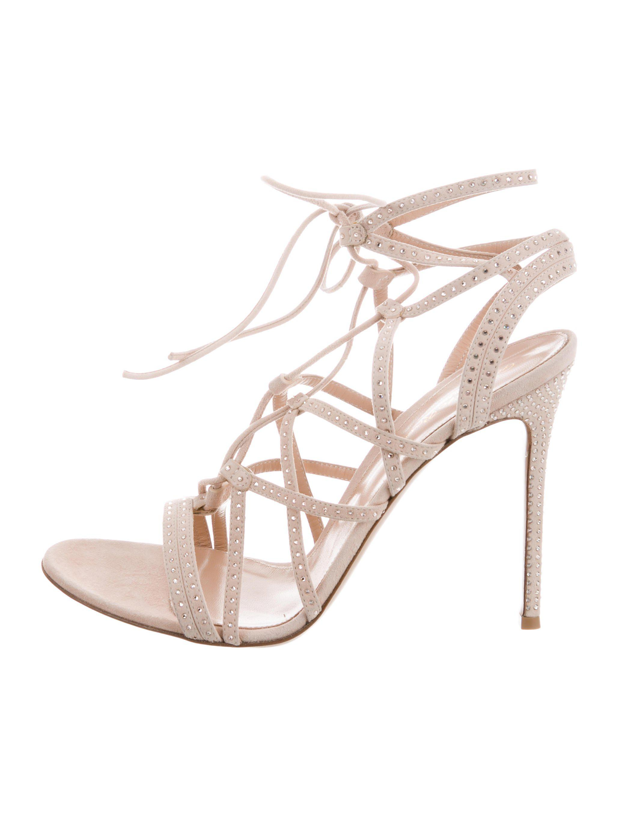 Gianvito Rossi Suede Lace-Up Sandals w/ Tags low shipping fee cheap online cheap wholesale cheap price factory outlet RDLfIiUiG