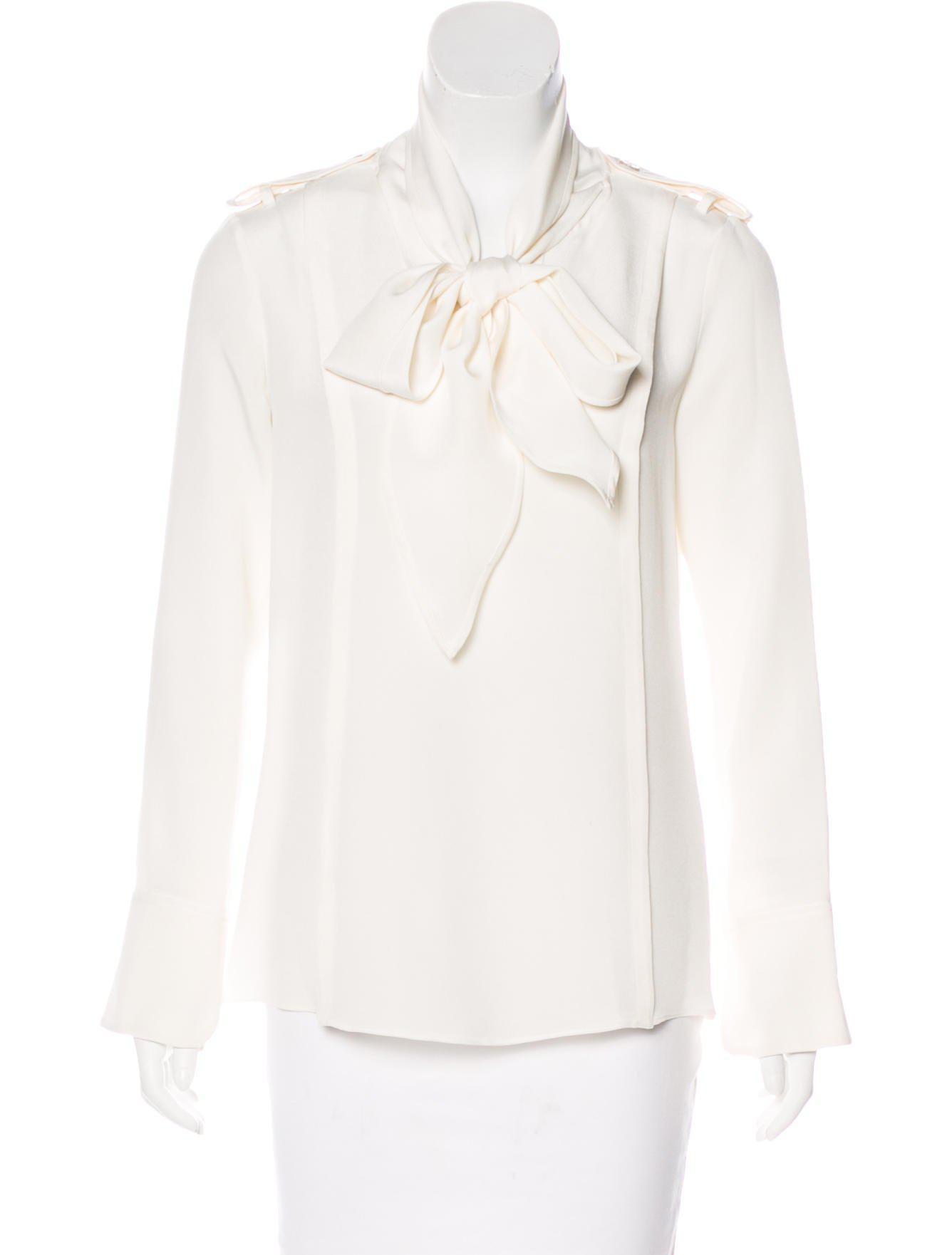 3d46844d679536 Lyst - Derek Lam Silk Tie Neck Blouse in White