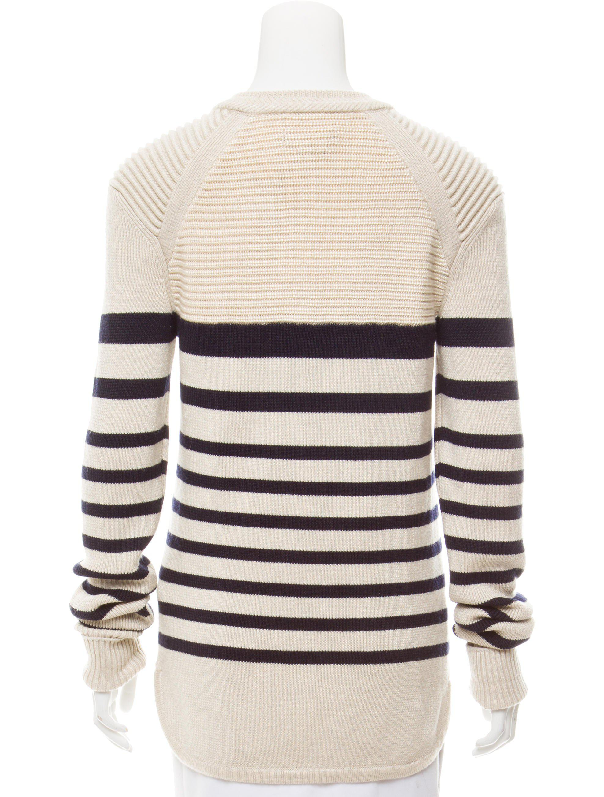 Isabel marant Striped Long Sleeve Sweater Tan in Natural | Lyst
