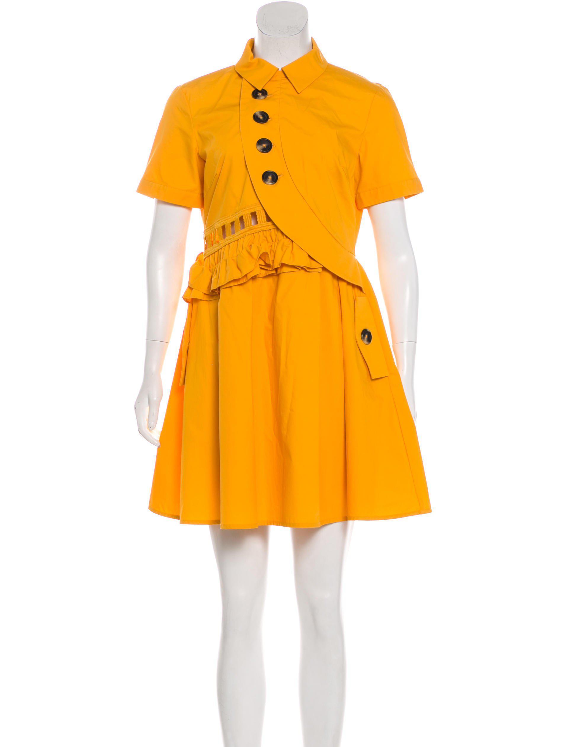 7f7f8229bafa8 Lyst - Self-Portrait Short Sleeve Mini Dress Yellow in Metallic
