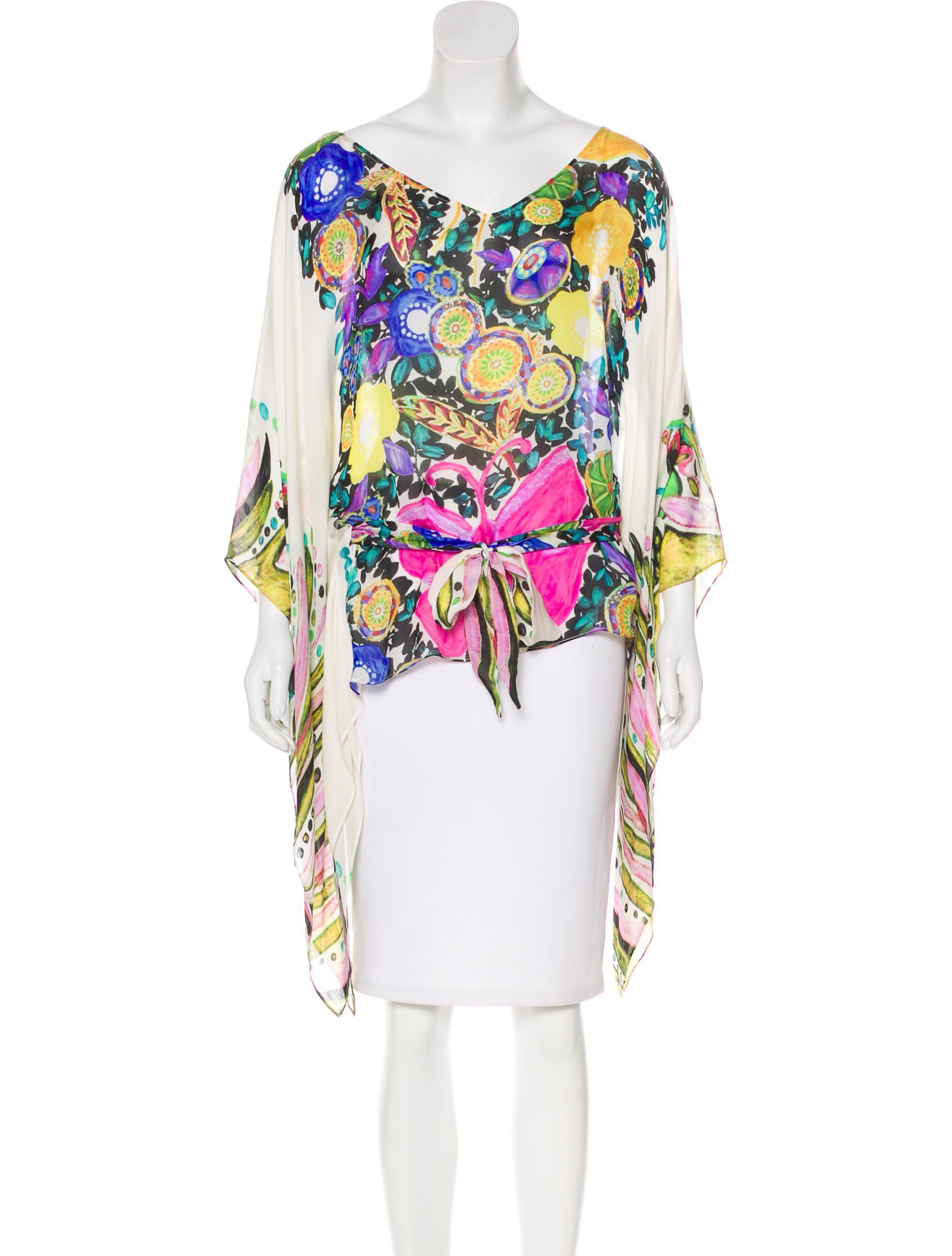 Roberto Cavalli. Women's Silk Abstract Print Blouse Multicolor