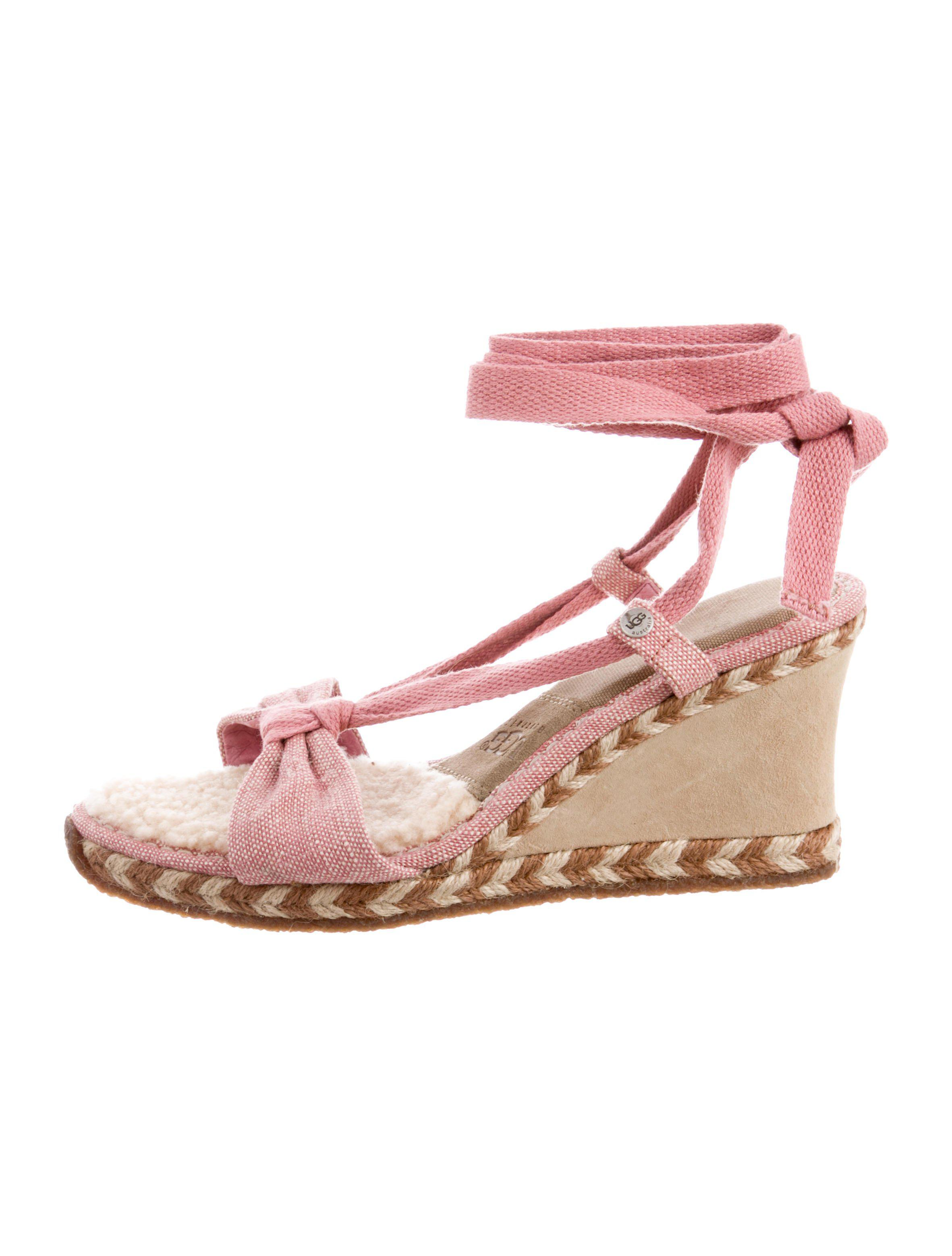 UGG. Women's Pink Lace-up Wedge Sandals