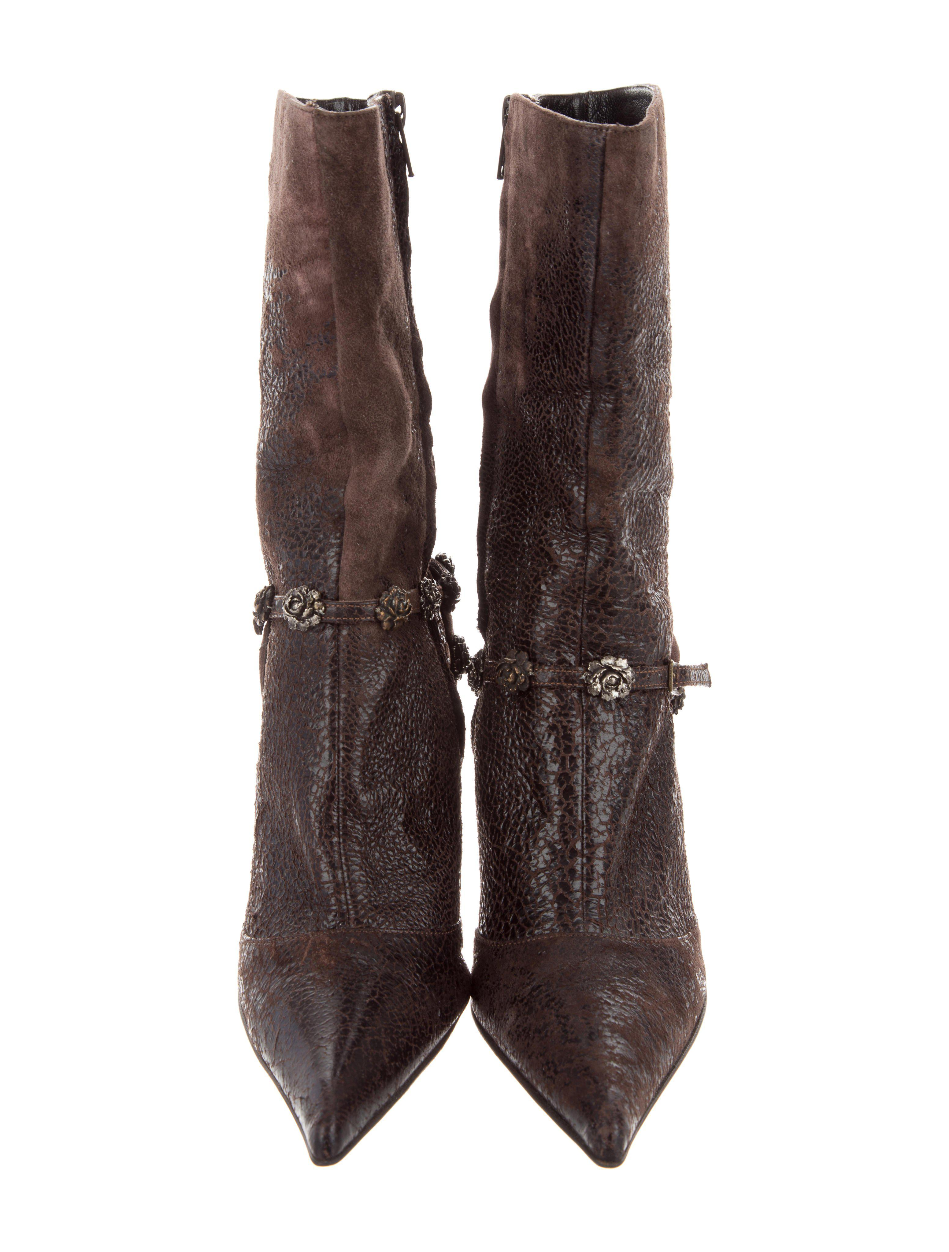 store sale online Roberto Cavalli Suede Floral-Embellished Ankle Boots buy cheap good selling cheap discount free shipping 100% authentic gbbHF