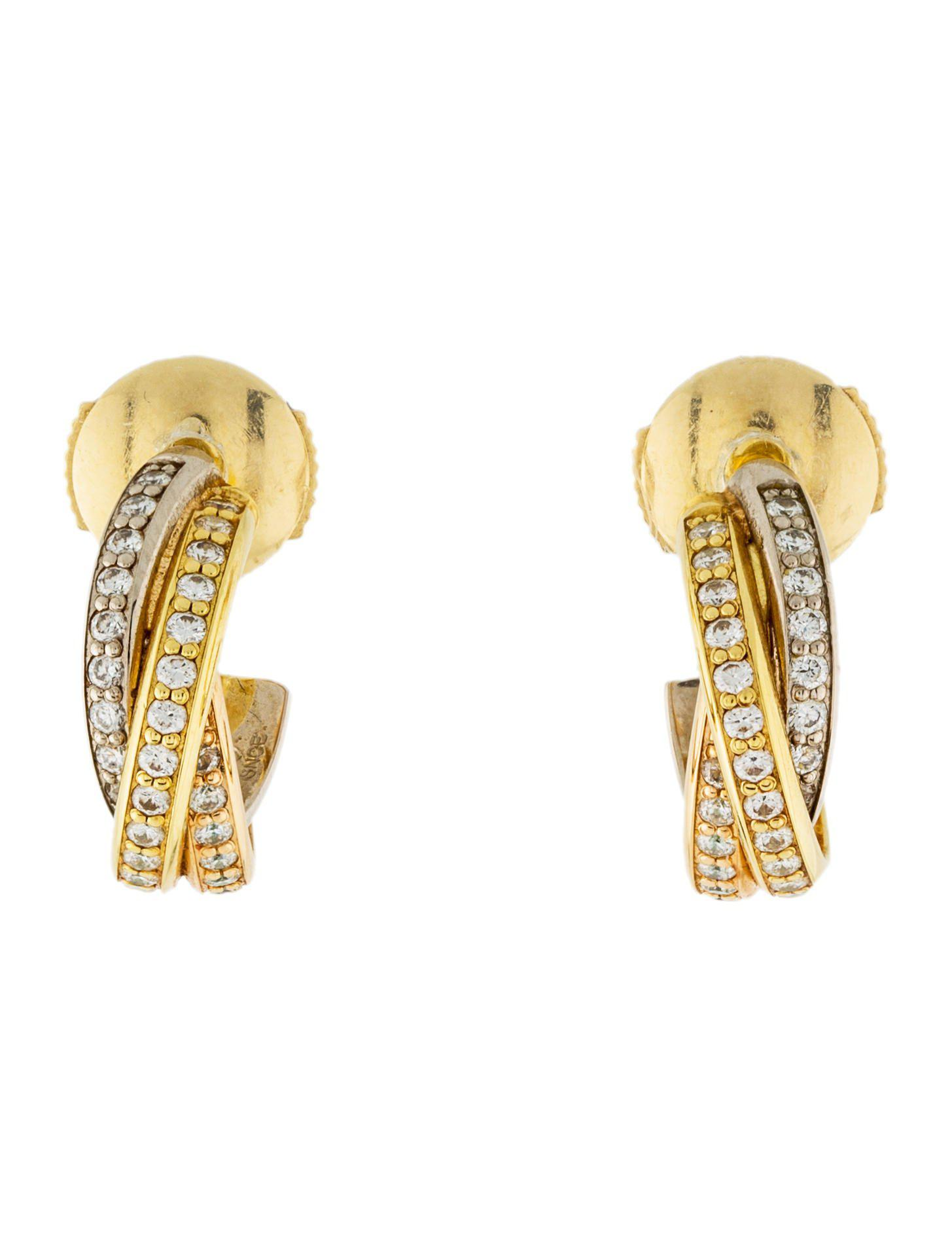 two de gold earrings pin hoops hoop color cartier trinity