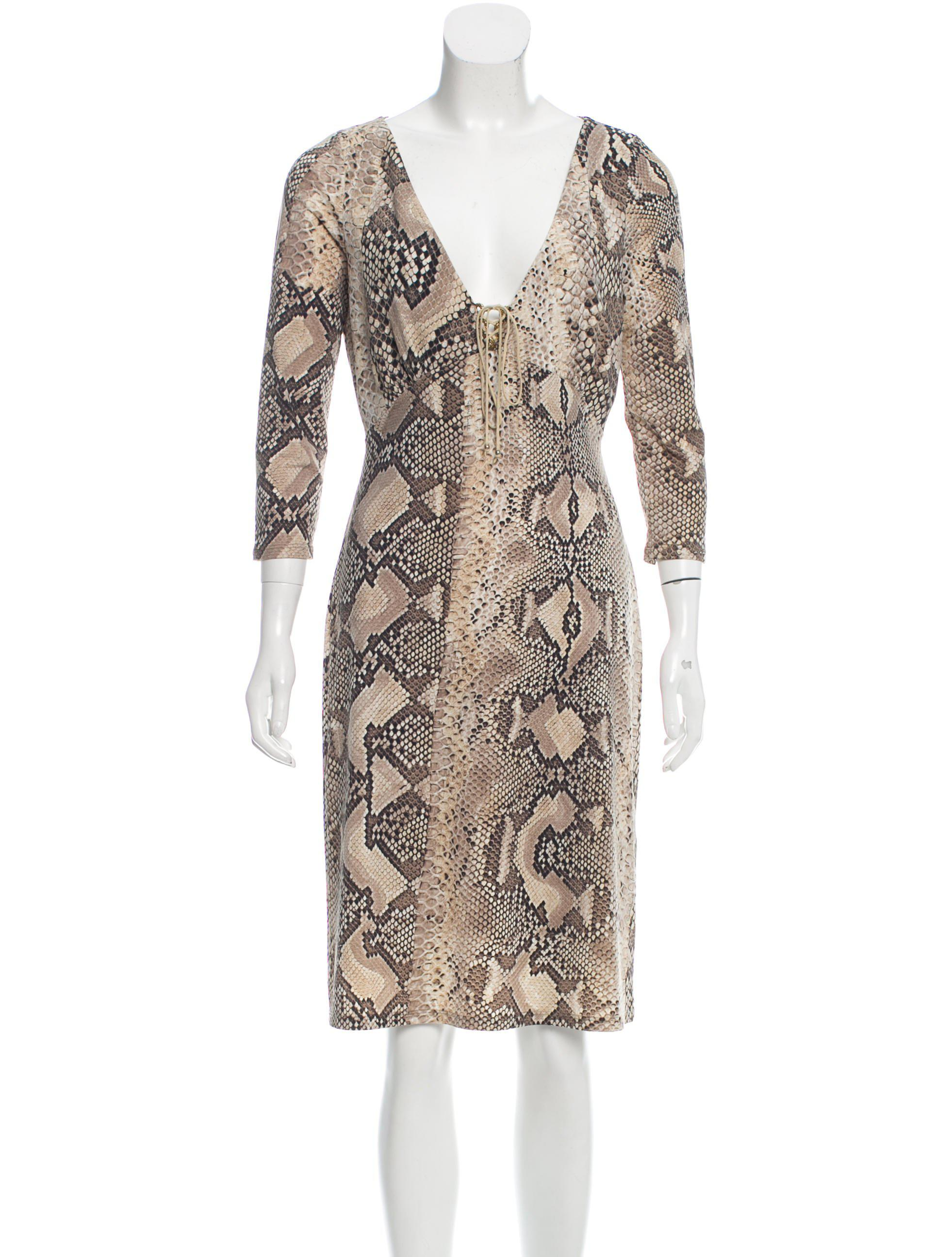 a7bc69f6ec3 Lyst - Roberto Cavalli Snakeskin Print Lace-up Dress in Brown