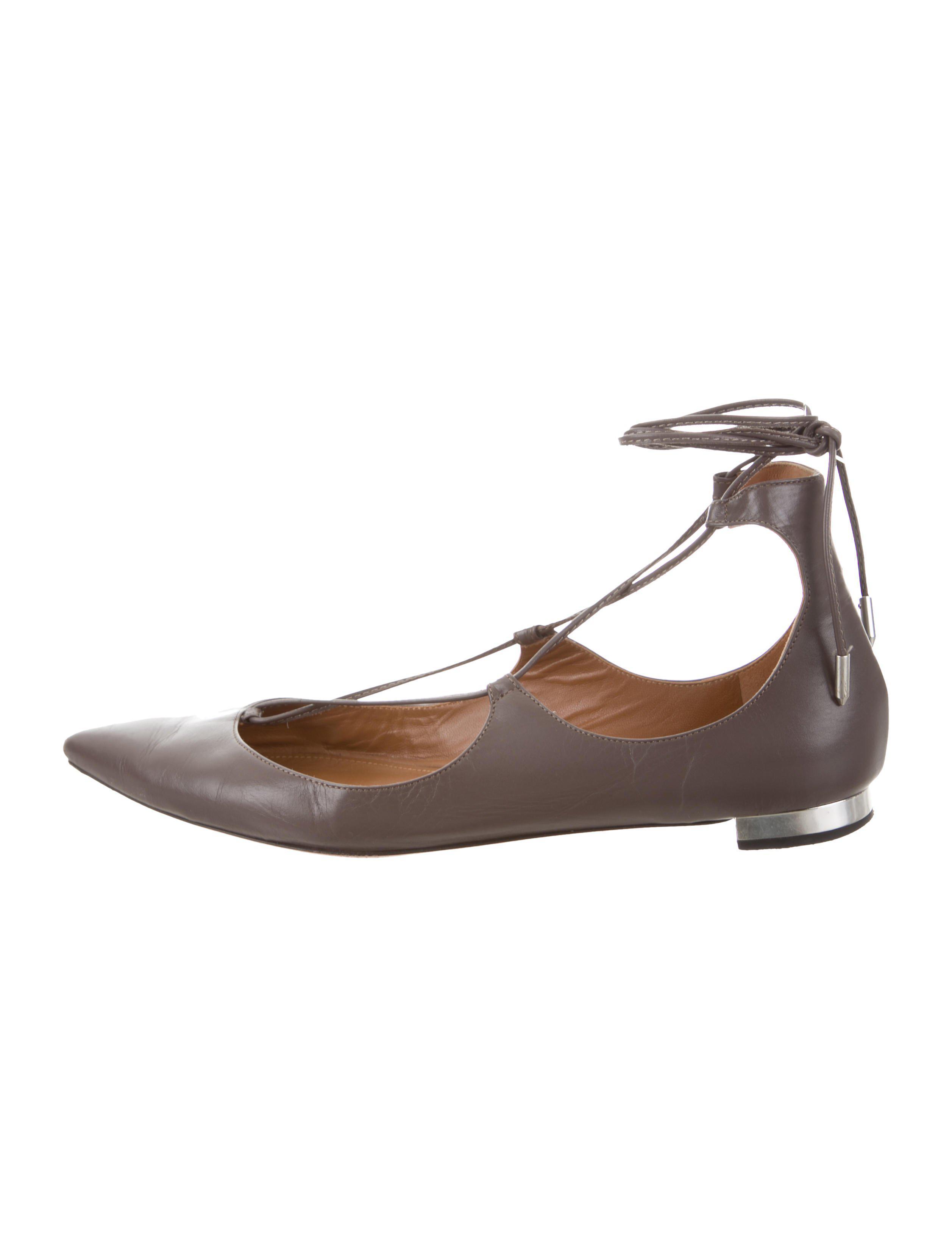 nicekicks cheap online best for sale Aquazzura Leather Wrap-Around Flats sneakernews cheap online QtCgVZY