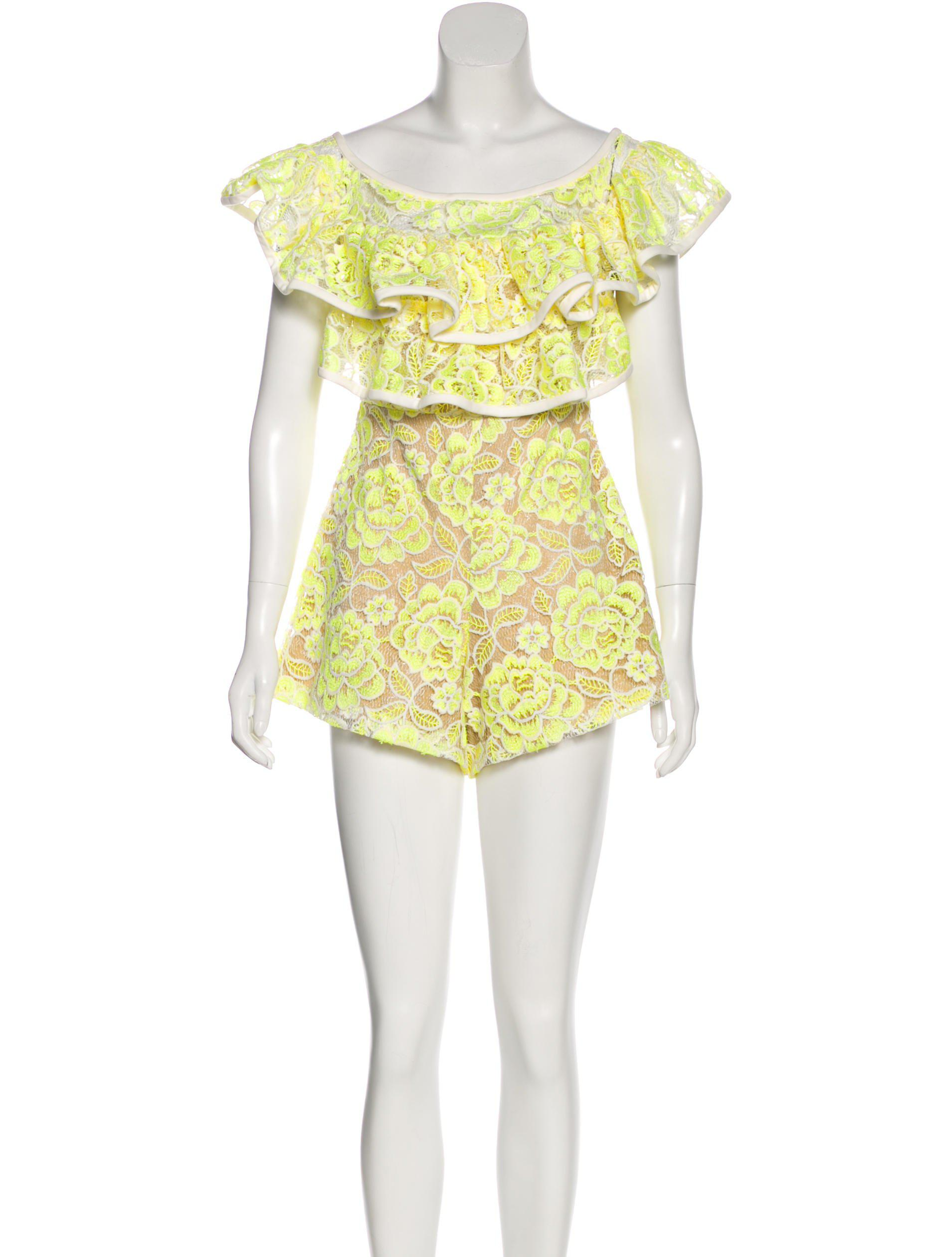 babfe74652 Lyst - Alexis Lace Off-the-shoulder Romper Yellow in Natural