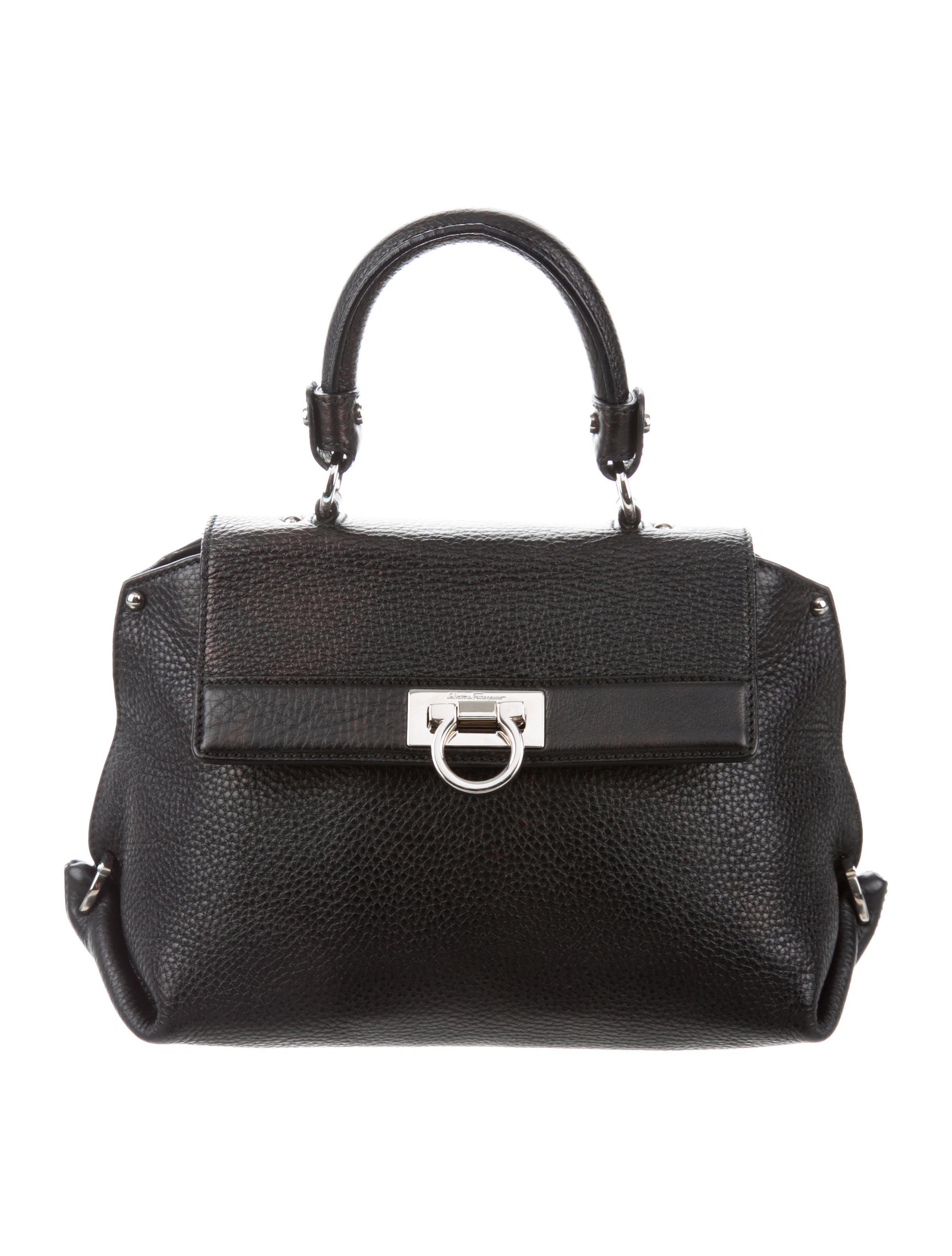 4bd0b57a1a Lyst - Ferragamo Sophia Leather Satchel Black in Metallic
