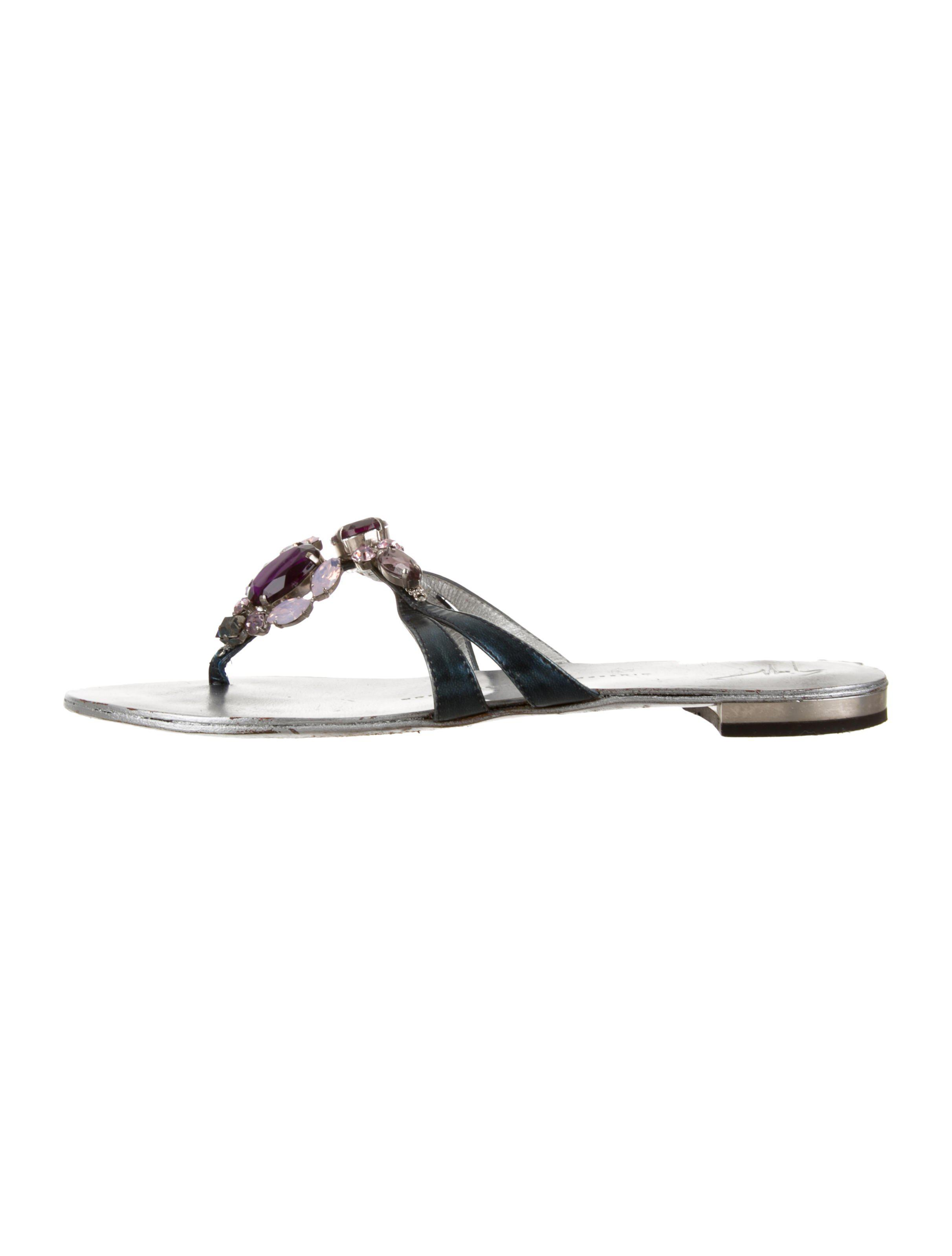 ed0c1366ea128 Lyst - Giuseppe Zanotti Jewel-embellished Thong Sandals Blue in Metallic