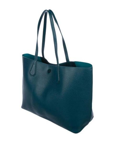 Lyst - Tory Burch Perry Leather Tote in Blue 41efc9a5bfd68