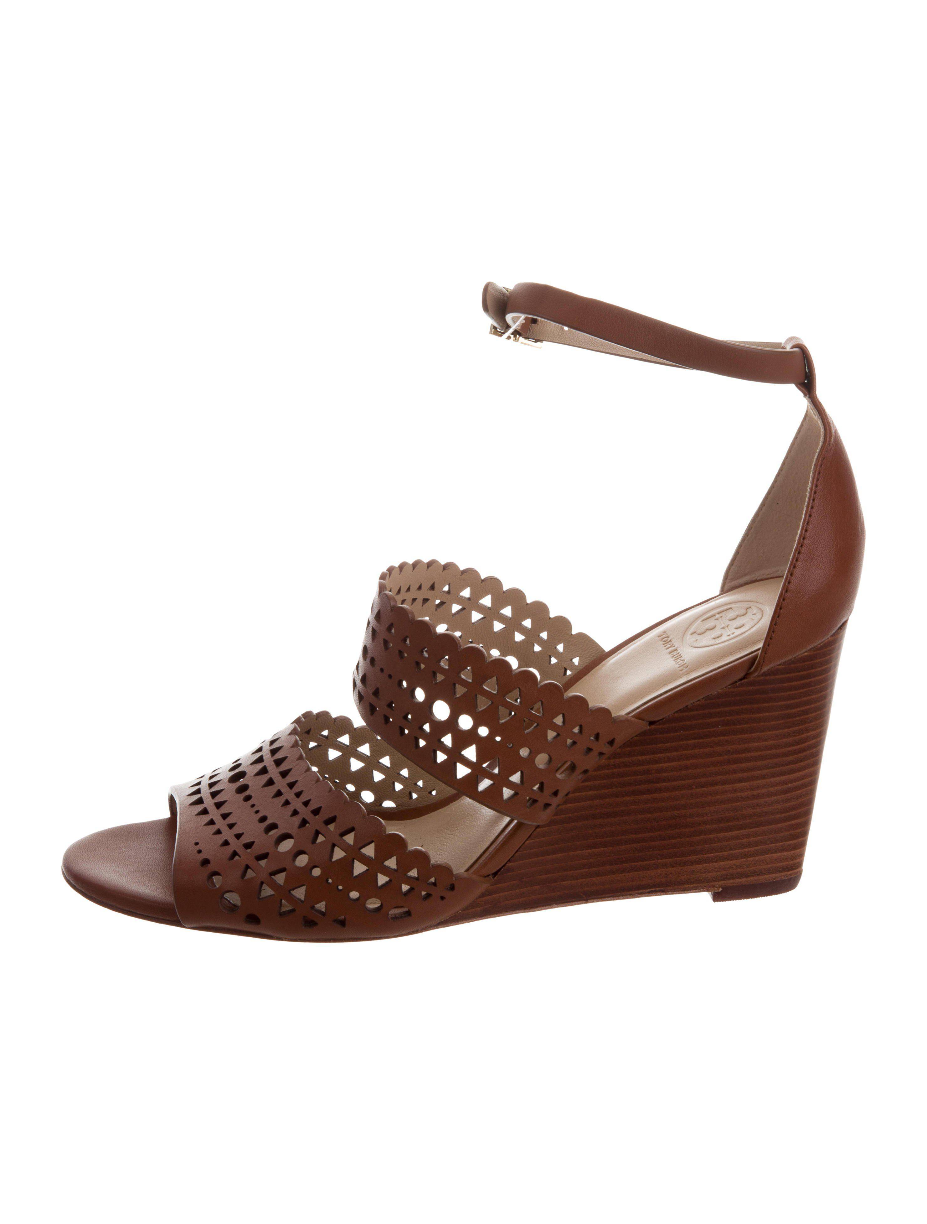 989505cab Lyst - Tory Burch Leather Laser Cut Wedges in Brown