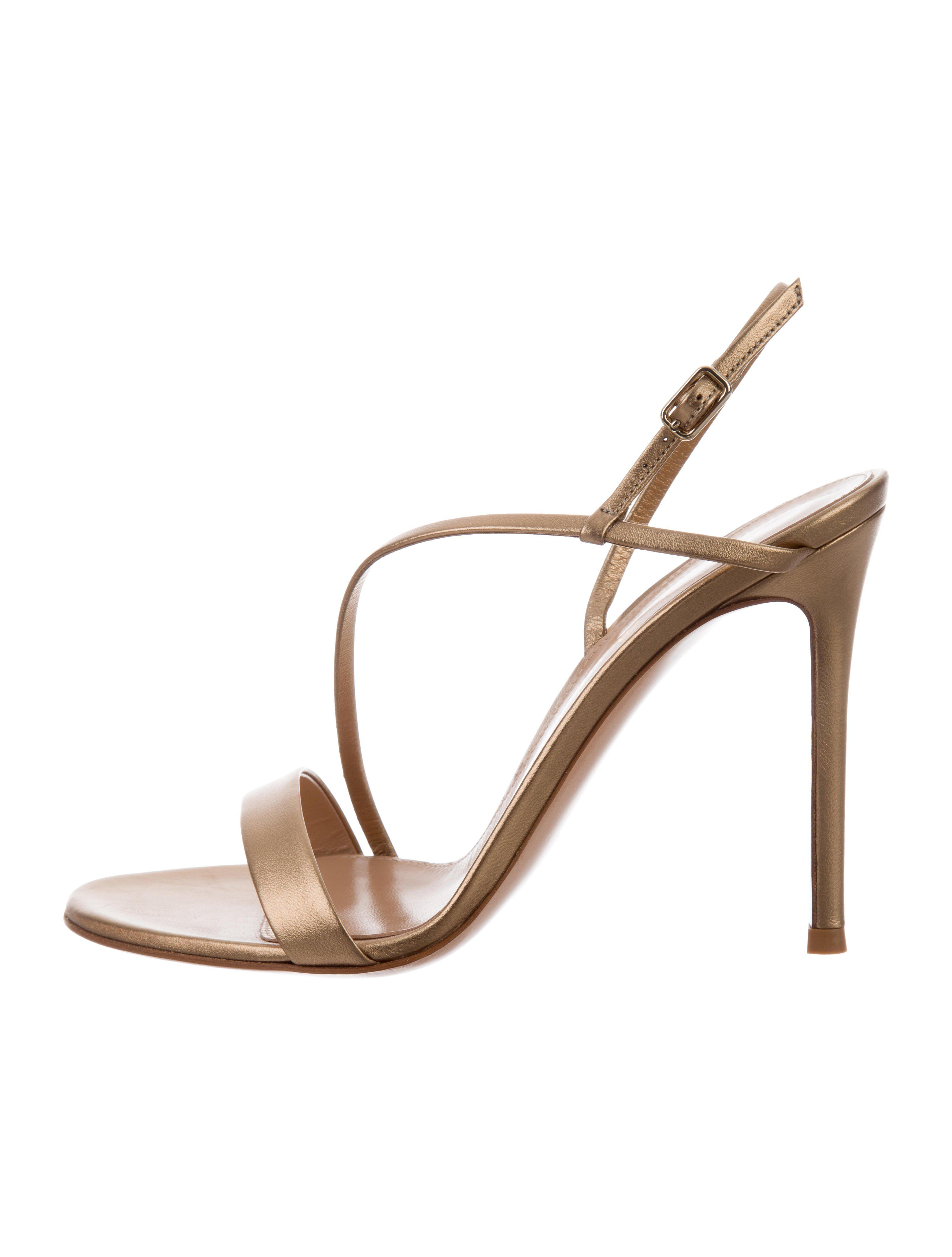 largest supplier Gianvito Rossi Metallic Satin-Trimmed Sandals w/ Tags discount classic Pj0cpJLiUF