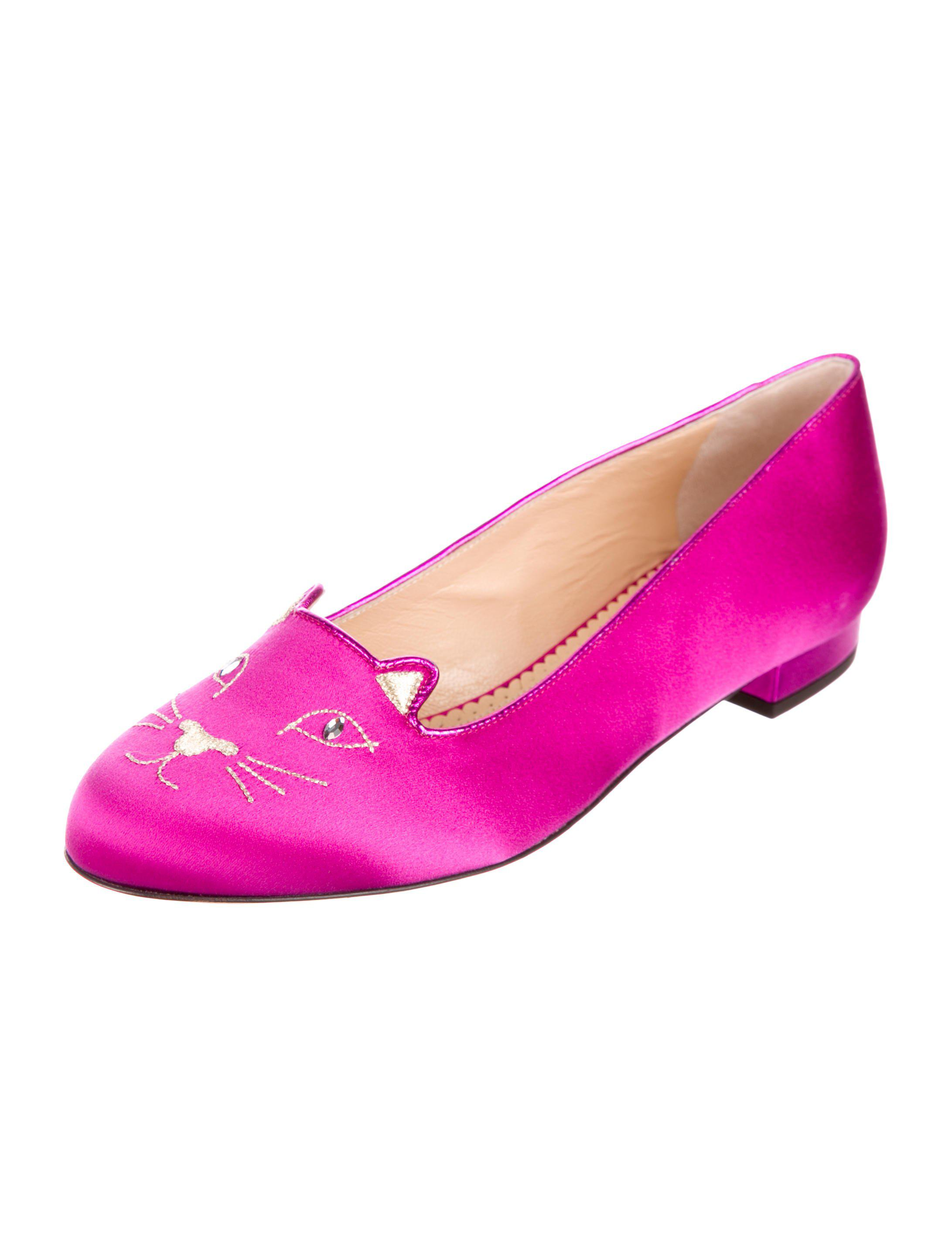 Charlotte Olympia Kitty Satin Flats w/ Tags sale choice buy cheap cheapest price 3yKKB