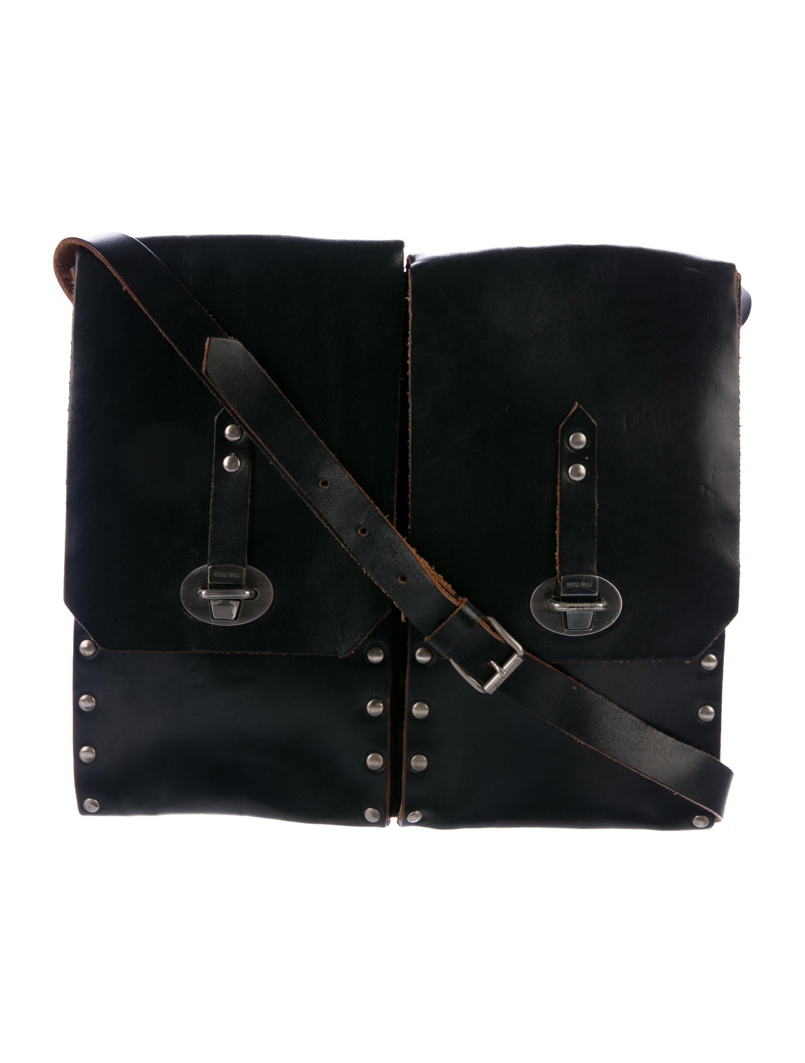 c5811971d66 Miu Miu. Women s Metallic Miu Stud Embellished Leather Crossbody Bag Black