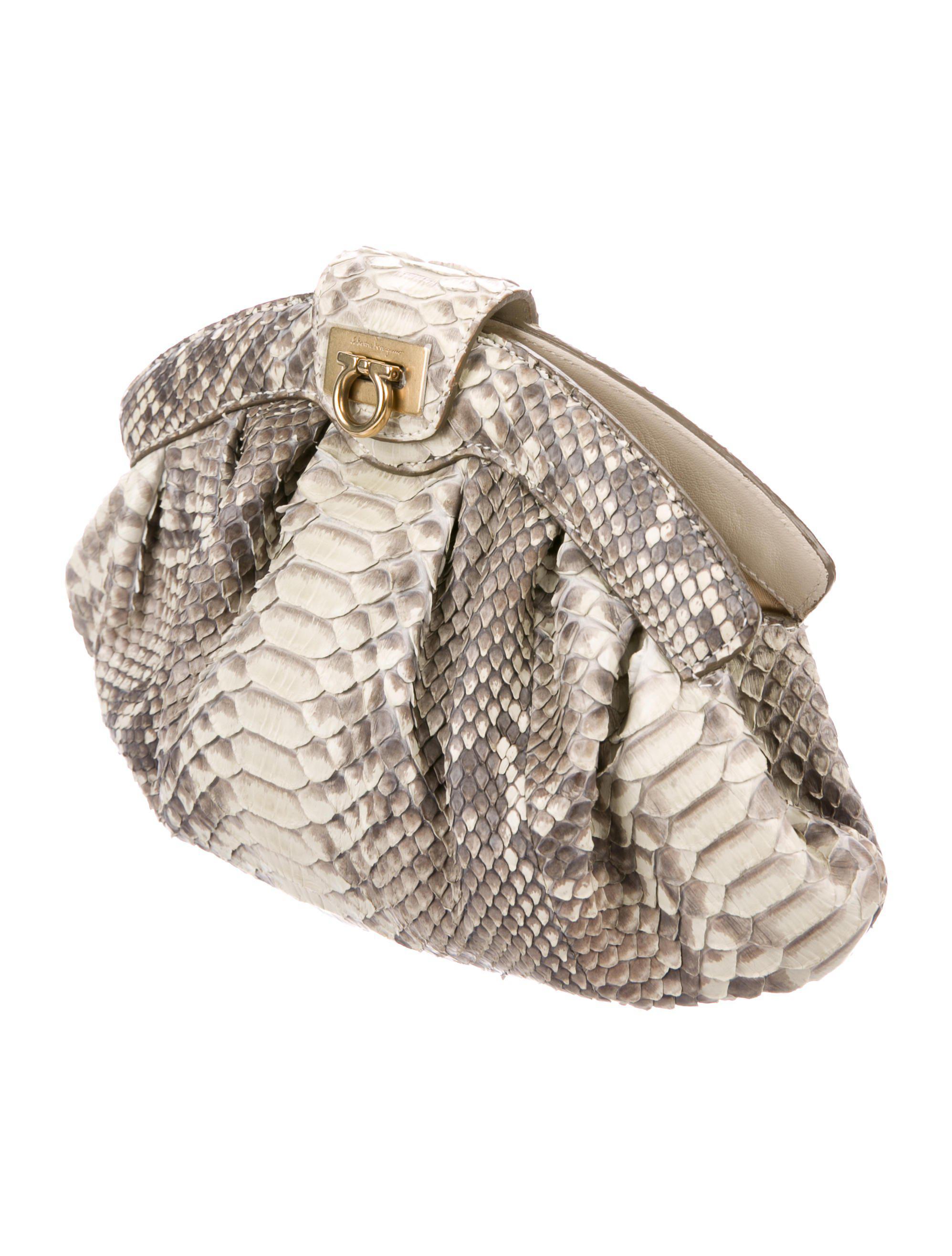 9f6244bdc6 Lyst - Ferragamo Snakeskin Gancio Clutch Grey in Metallic