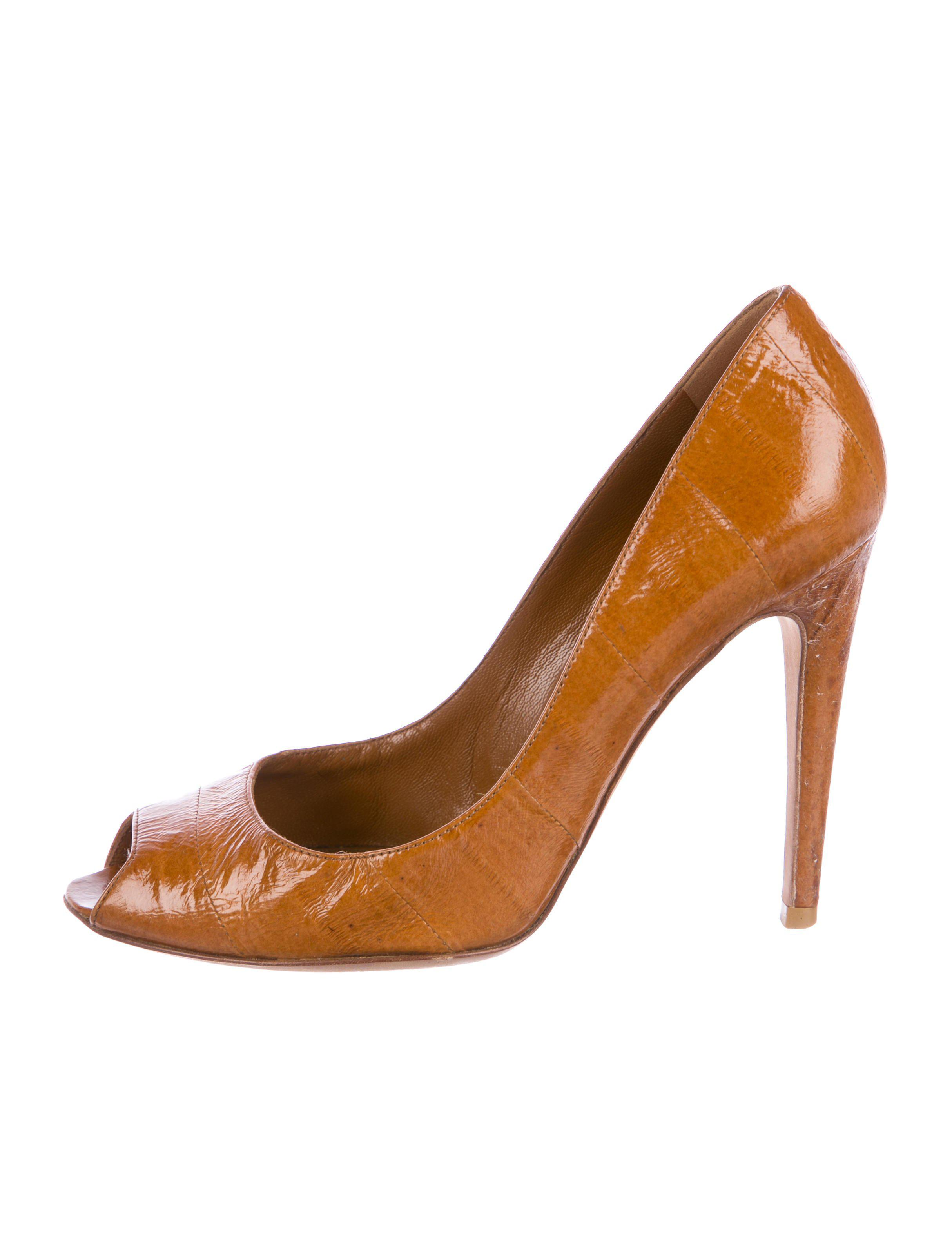 Sergio Rossi Eel Skin Peep-Toe Pumps free shipping with paypal clearance authentic cost cheap price ctNzYeK8AX