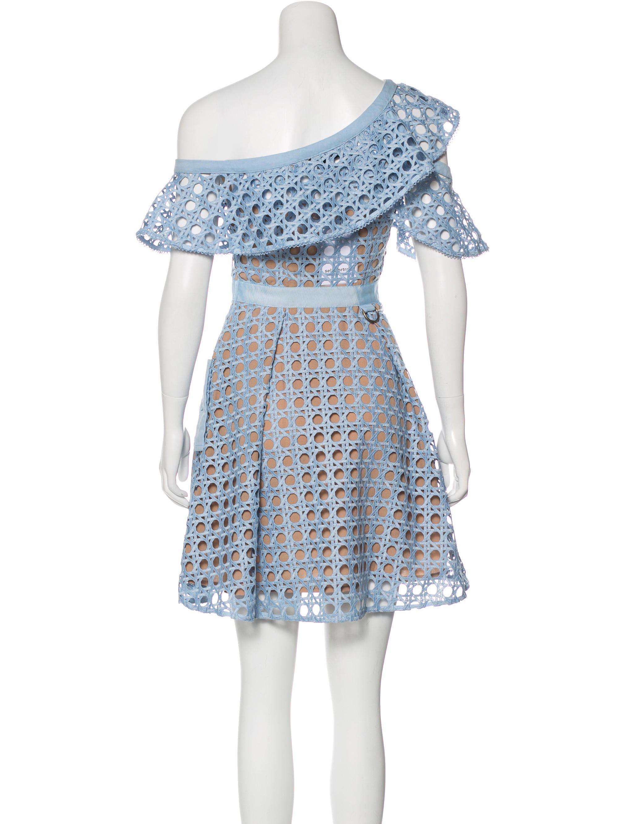 e41d5da208f3 Lyst - Self-Portrait Guipure Lace Mini Dress W/ Tags Blue in Natural