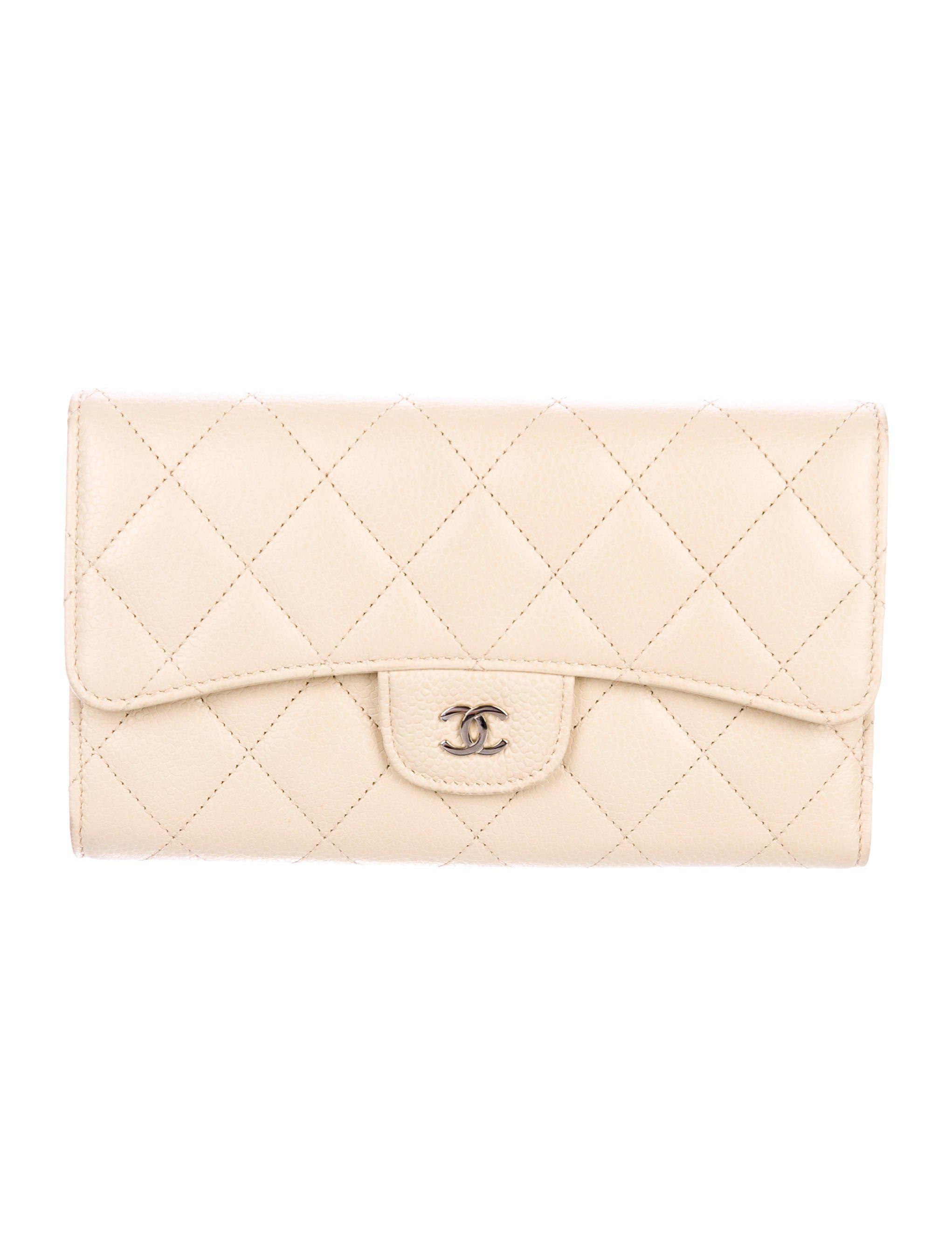 4168ae9bfaf7 Lyst - Chanel Quilted Caviar Continental Wallet Silver in Metallic