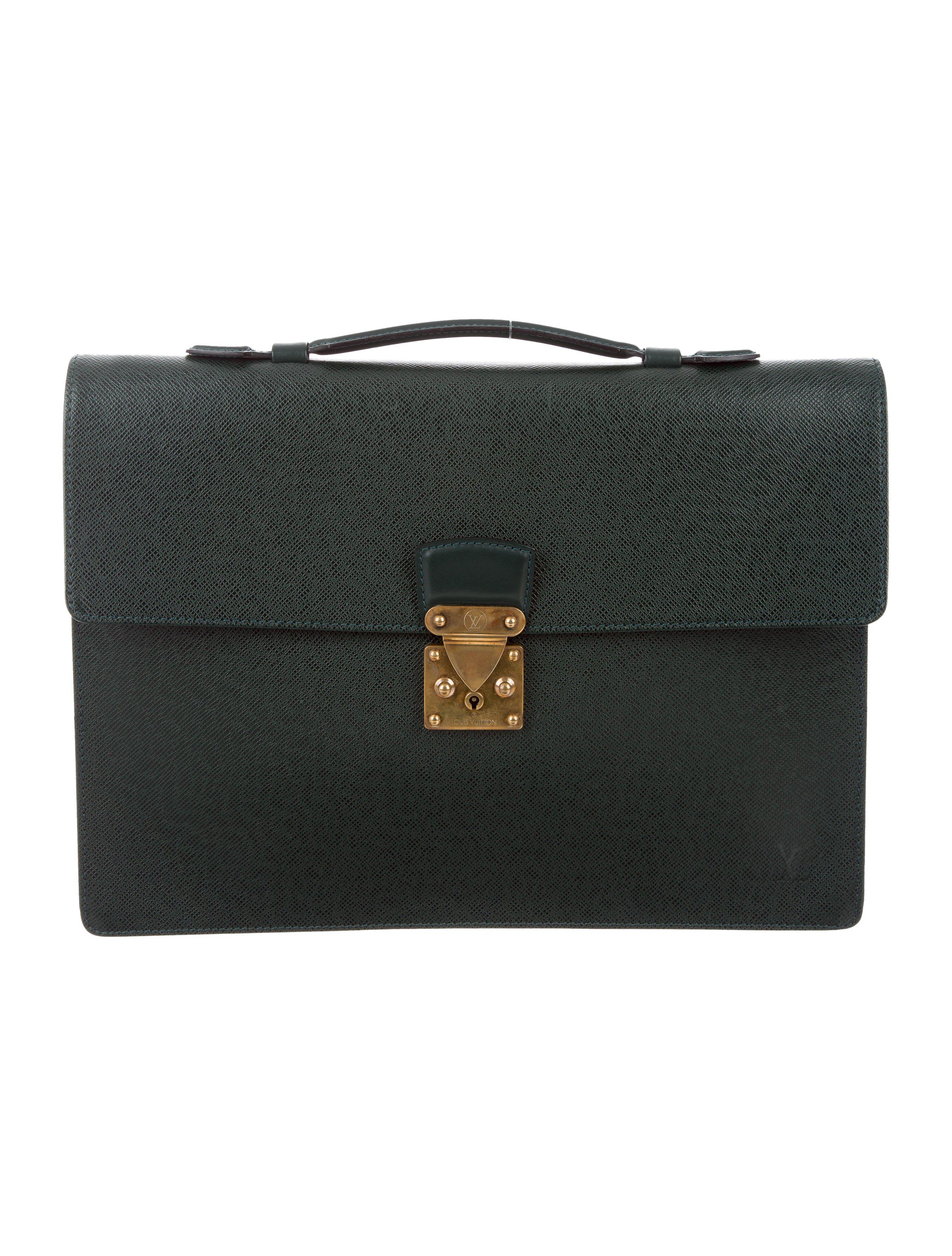 7d249dd727a5 Lyst - Louis Vuitton Taiga Serviette Kourad Briefcase in Green for Men