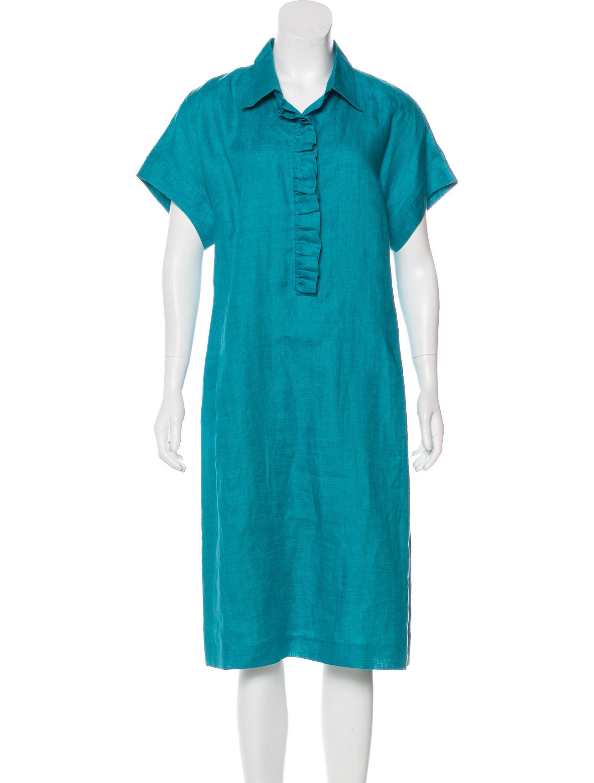 e18b07894ec Lyst - Loro Piana Short Sleeve Midi Dress in Blue