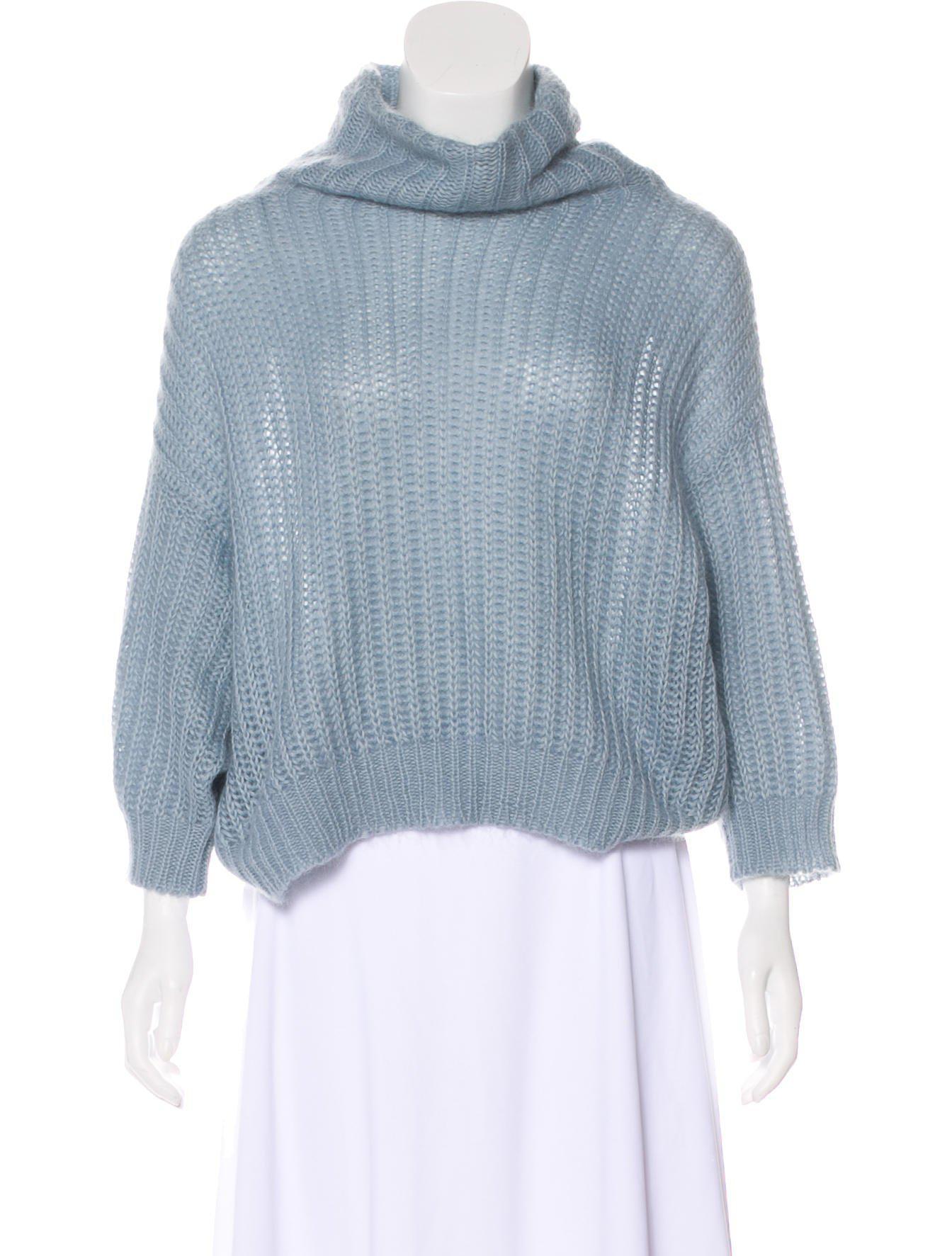 cefd8feedb Lyst - Brunello Cucinelli Mohair-blend Open Knit Sweater in Blue