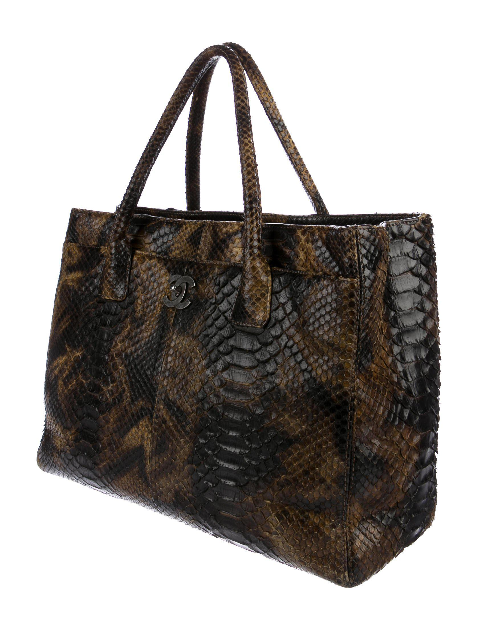 a3f7ce8167 Lyst - Chanel Python Executive Cerf Tote Brown in Metallic