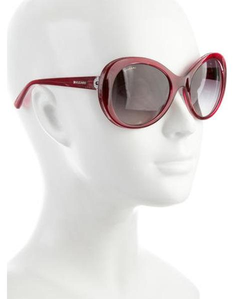 515536fb2c57 Lyst - Bvlgari Round Embellished Sunglasses Burgundy in Red