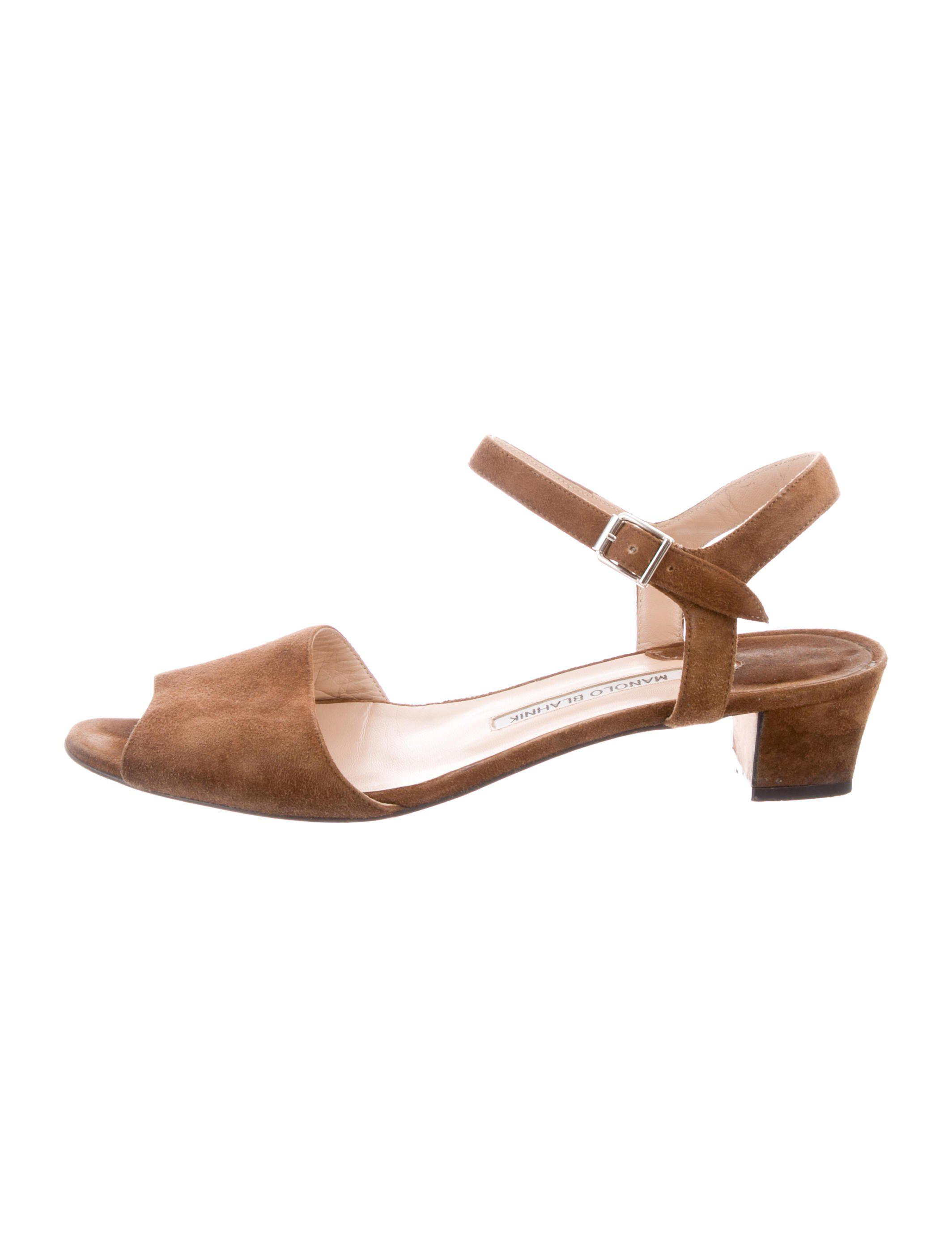 e7c565db0dc Lyst - Manolo Blahnik Suede Ankle Strap Sandals in Brown
