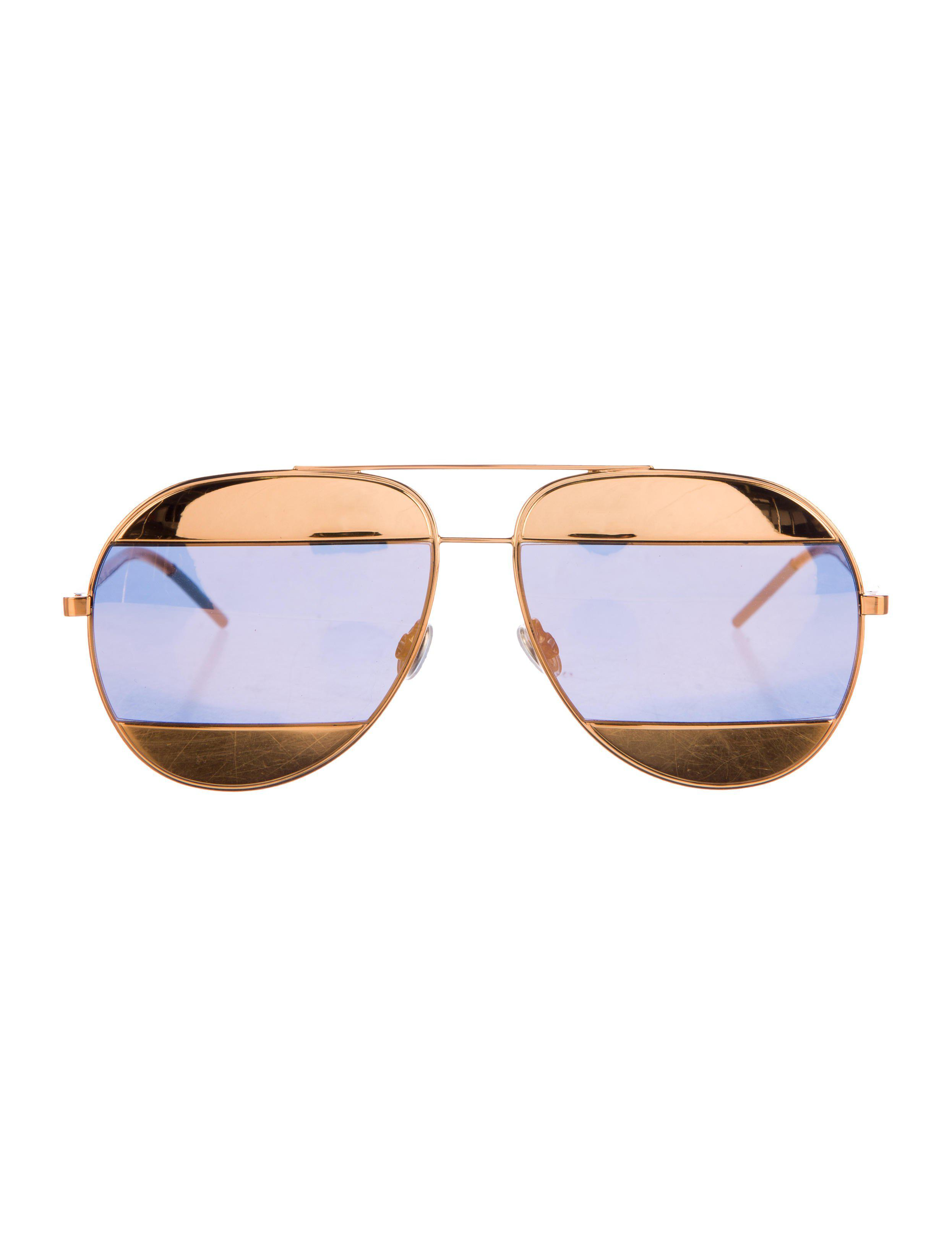 f07428af2a559 Lyst - Dior Split 1 Aviator Sunglasses Gold in Metallic