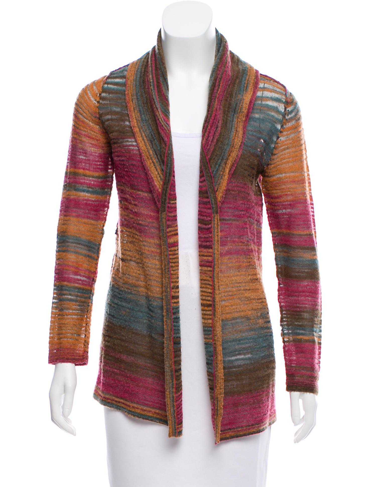 Lyst Magaschoni Pattern Knit Open Cardigan In Blue