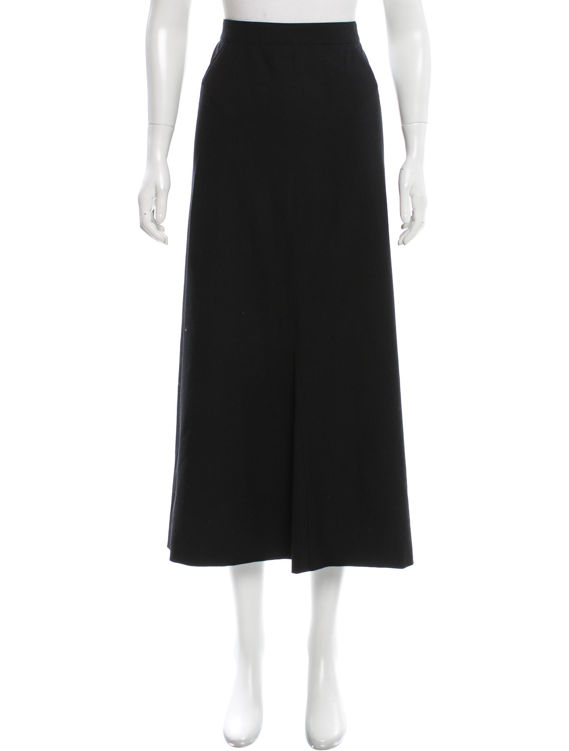 chanel wool midi skirt in black lyst