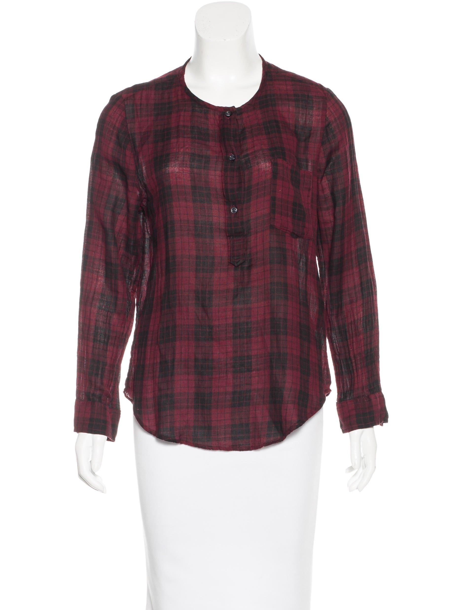 toile isabel marant plaid long sleeve top in black lyst. Black Bedroom Furniture Sets. Home Design Ideas