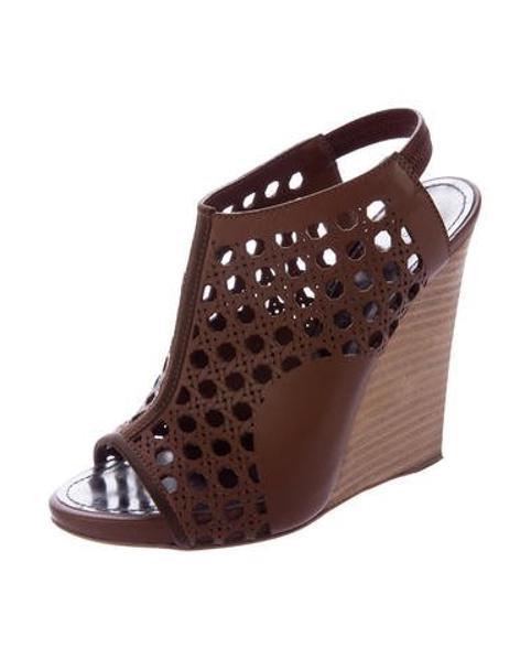 c10f82c1df7 Lyst - Proenza Schouler Laser Cut Wedge Sandals Tan in Natural