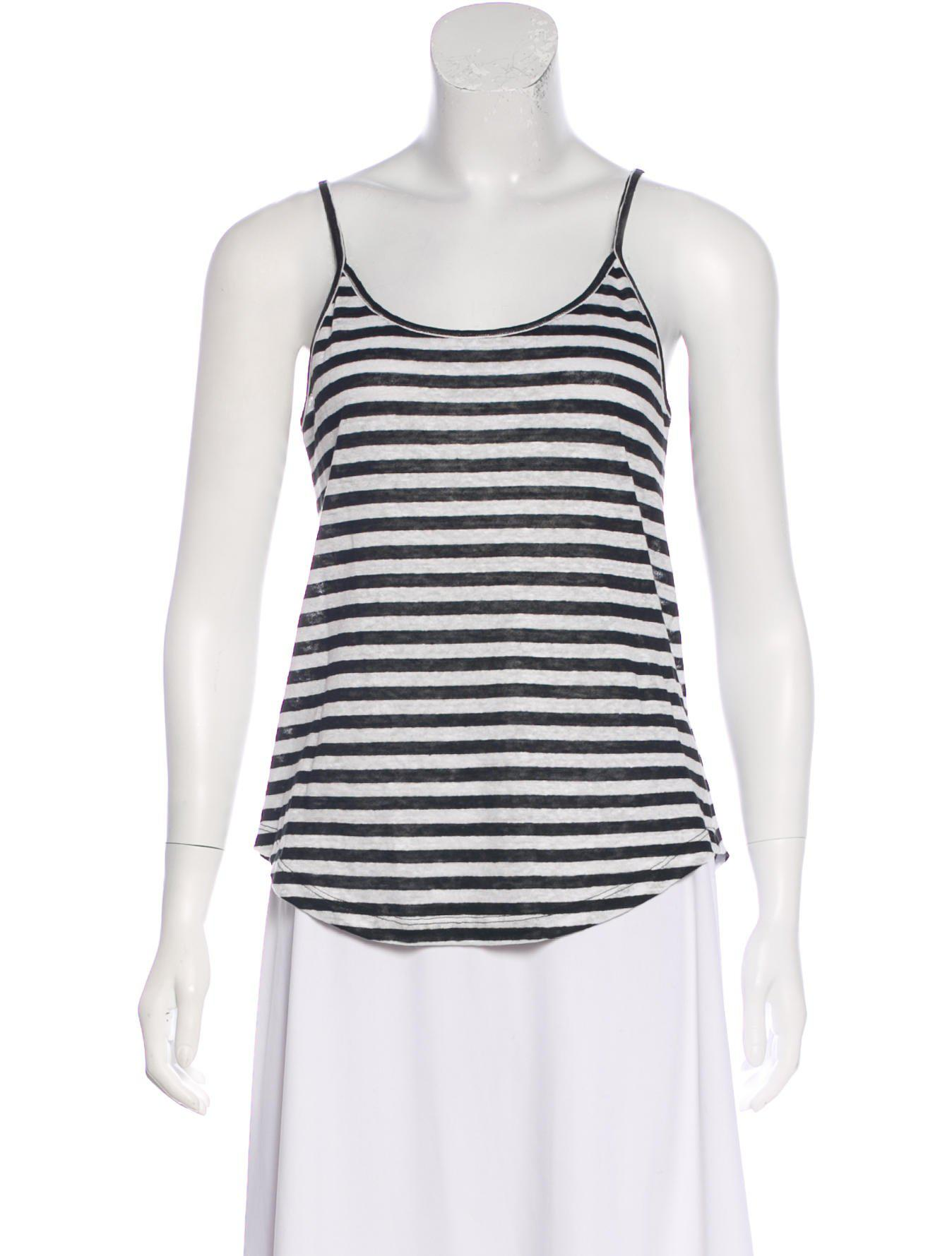 8d8e2813c0ee1b Lyst - A.L.C. Striped Linen Top in Black