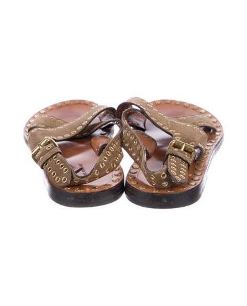 db5c62723bd1 Lyst - Isabel Marant Suede Embellished Sandals Olive in Metallic