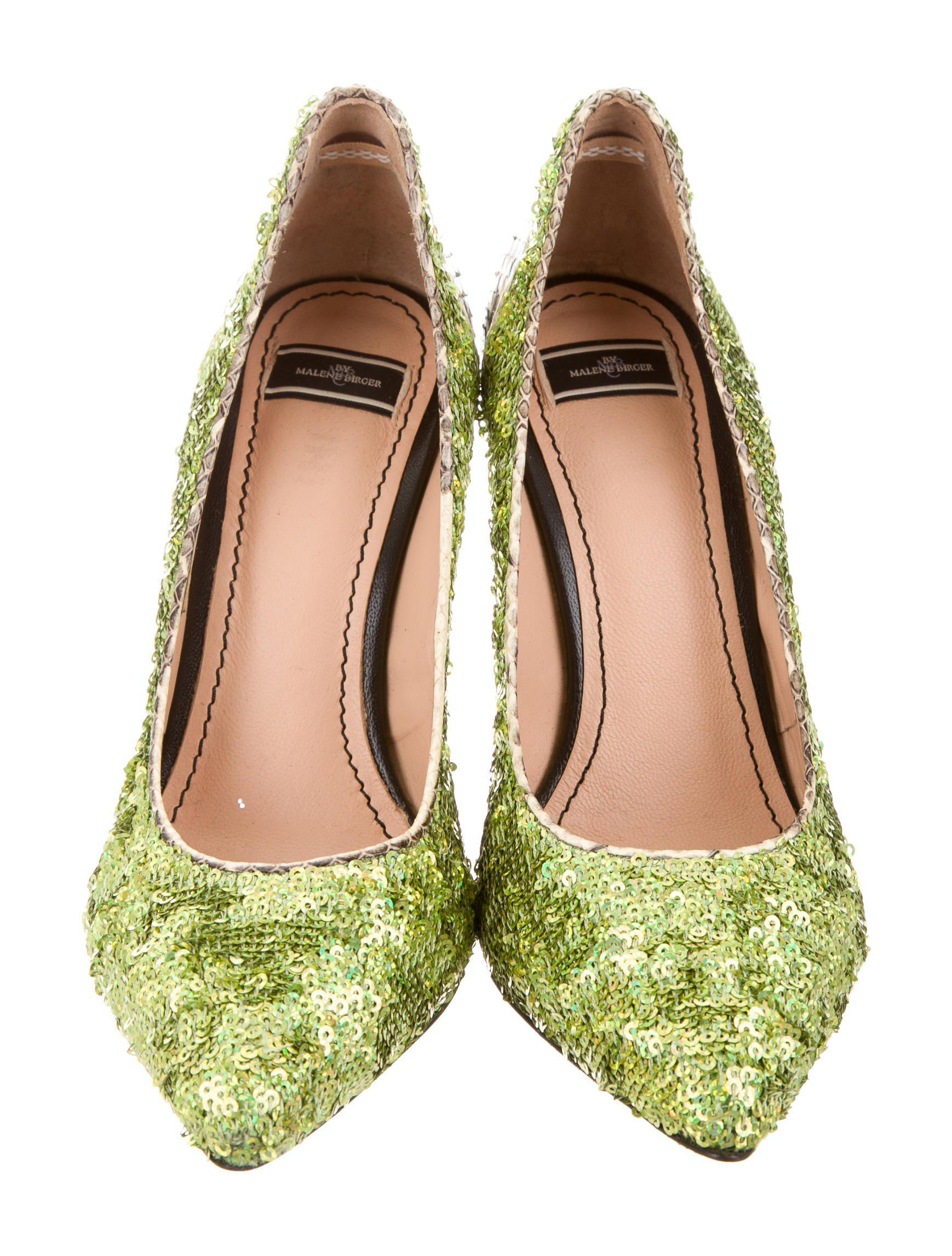 discount 2015 new By Malene Birger Sequined Snakeskin-Trimmed Pumps Inexpensive iZ0cd