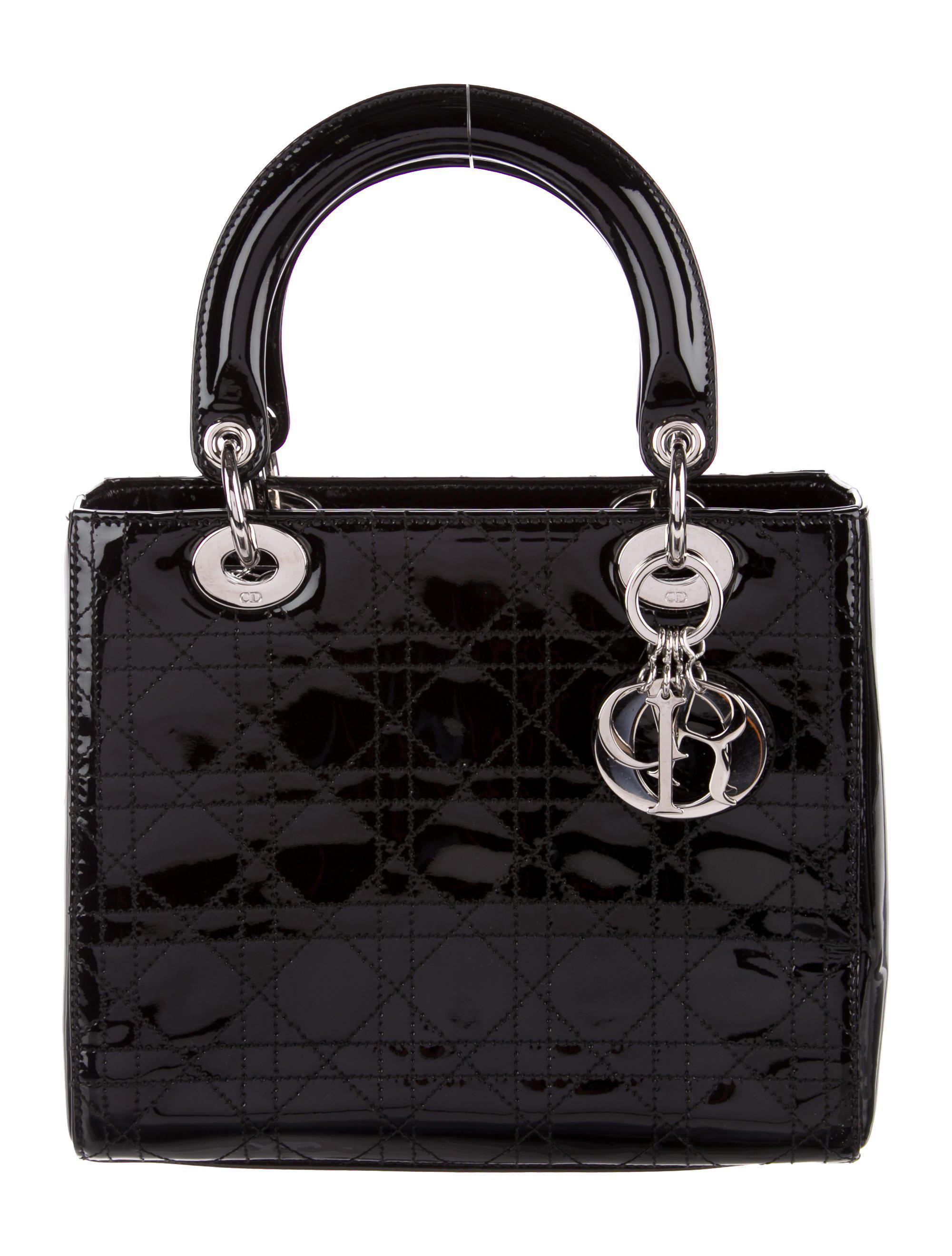 9586ef0448ab Lyst - Dior Medium Lady Bag Black in Metallic