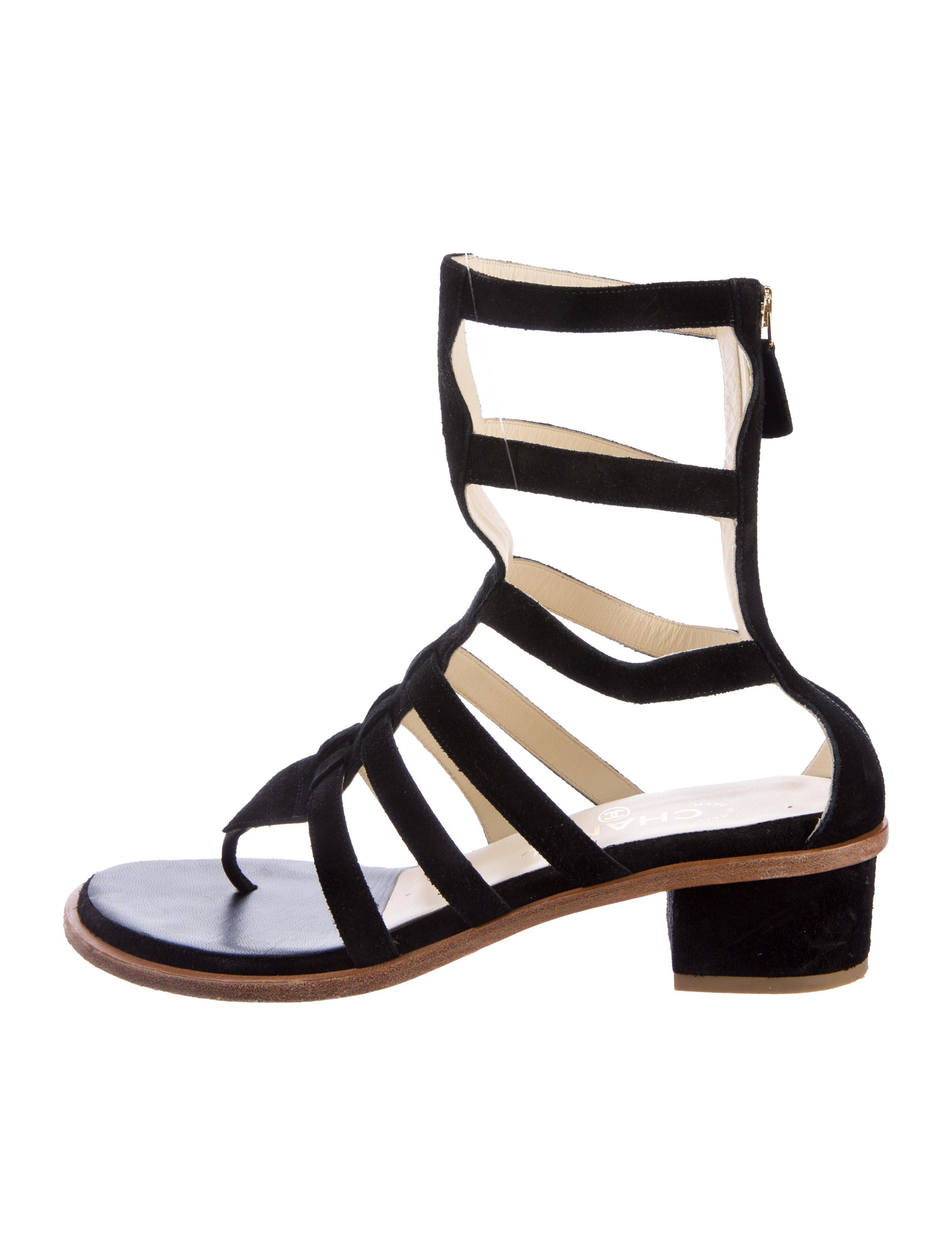 73734009bd37 Lyst chanel suede gladiator sandals in black jpg 2466x3253 Chanel gladiator  sandals