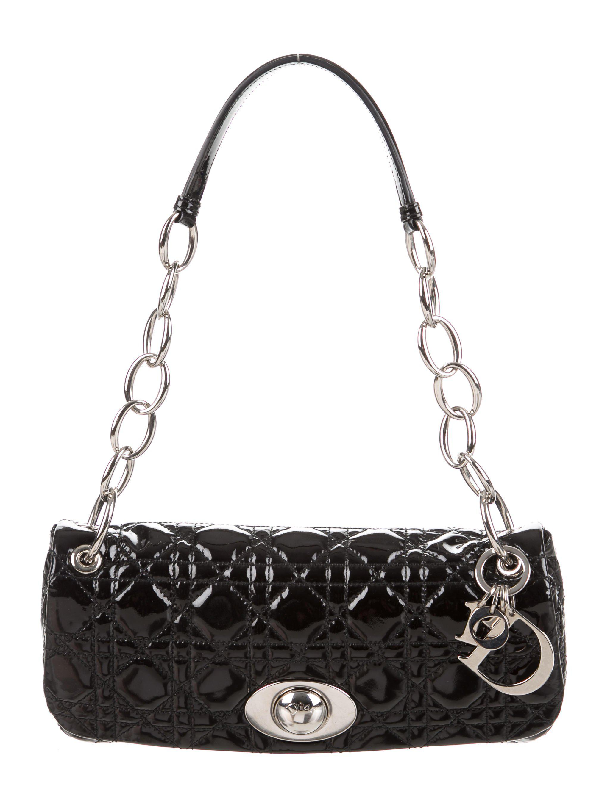 Lyst - Dior Rendezvous Cannage Flap Bag Black in Metallic 008c5ce45241f