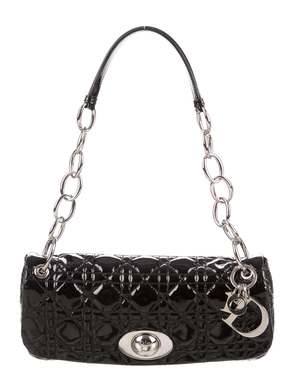 d13c0f6a8d1c Lyst - Dior Rendezvous Cannage Flap Bag Black in Metallic